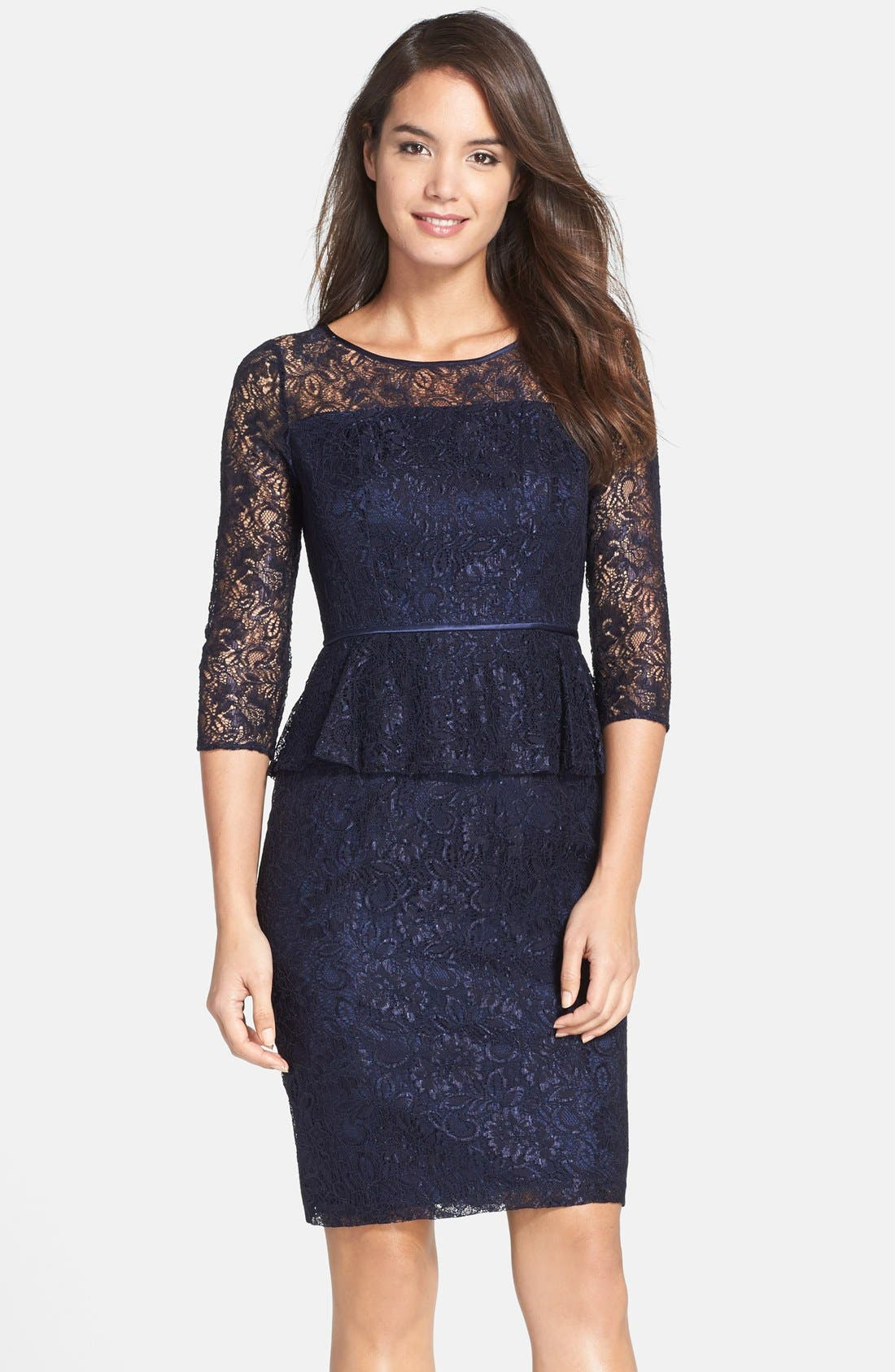 Main Image - Adrianna Papell Peplum Lace Sheath Dress (Nordstrom Exclusive)