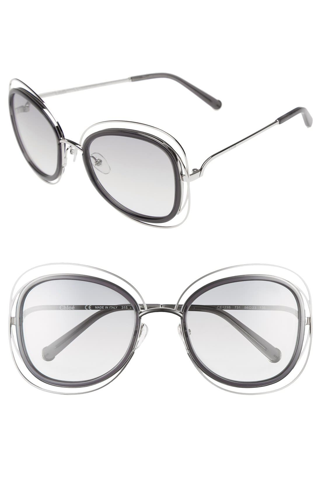 Chloé 'Carlina' 56mm Gradient Sunglasses