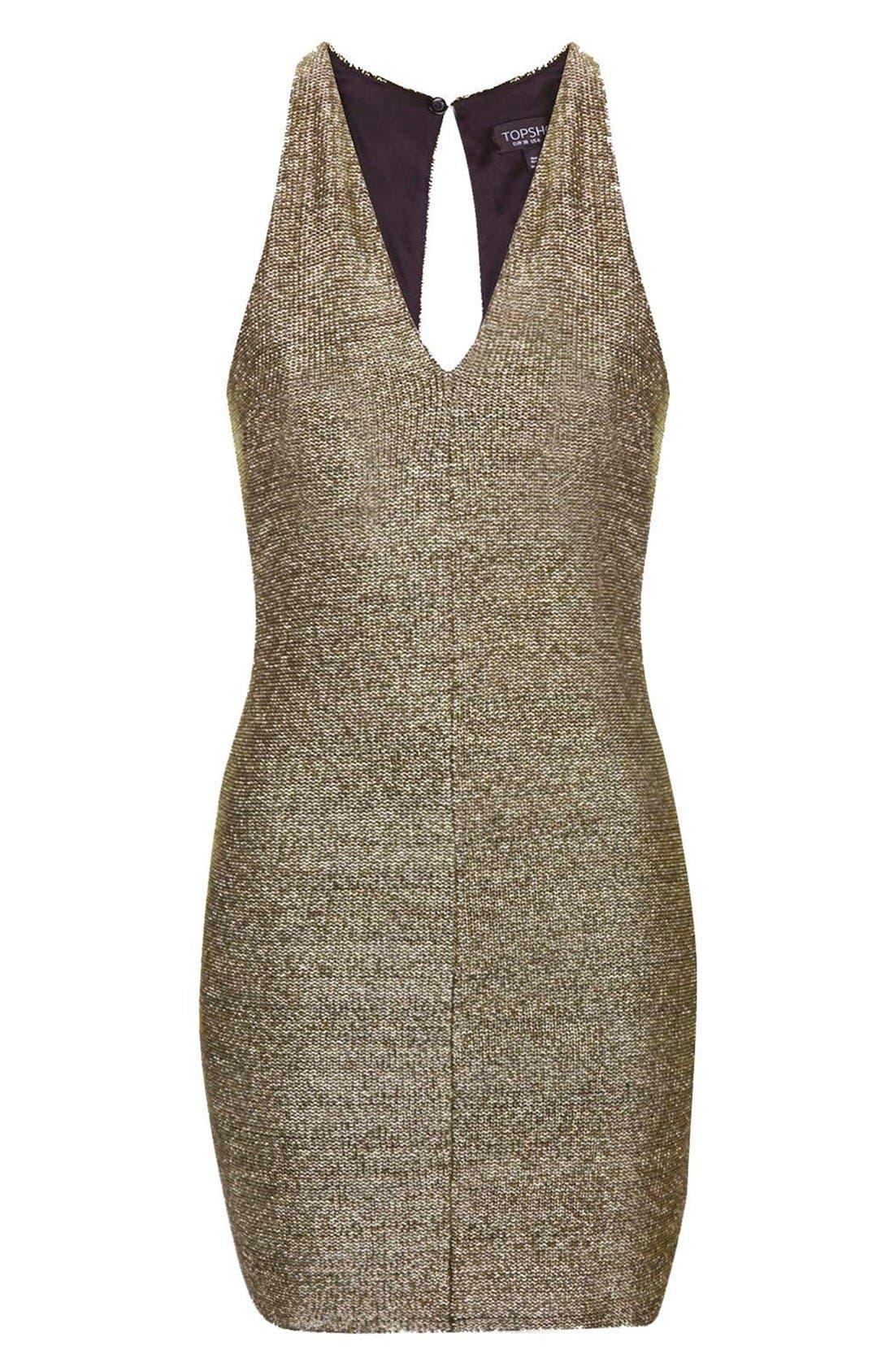 Alternate Image 3  - Topshop Metallic Body-Con Dress