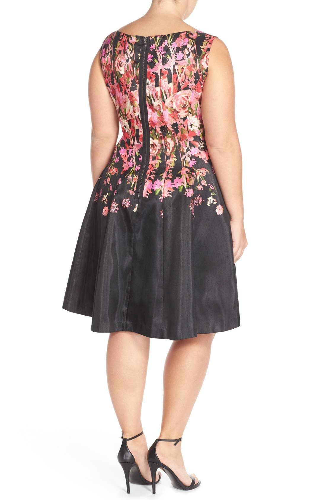 Alternate Image 2  - Gabby Skye Floral Shantung Fit & Flare Dress (Plus Size)