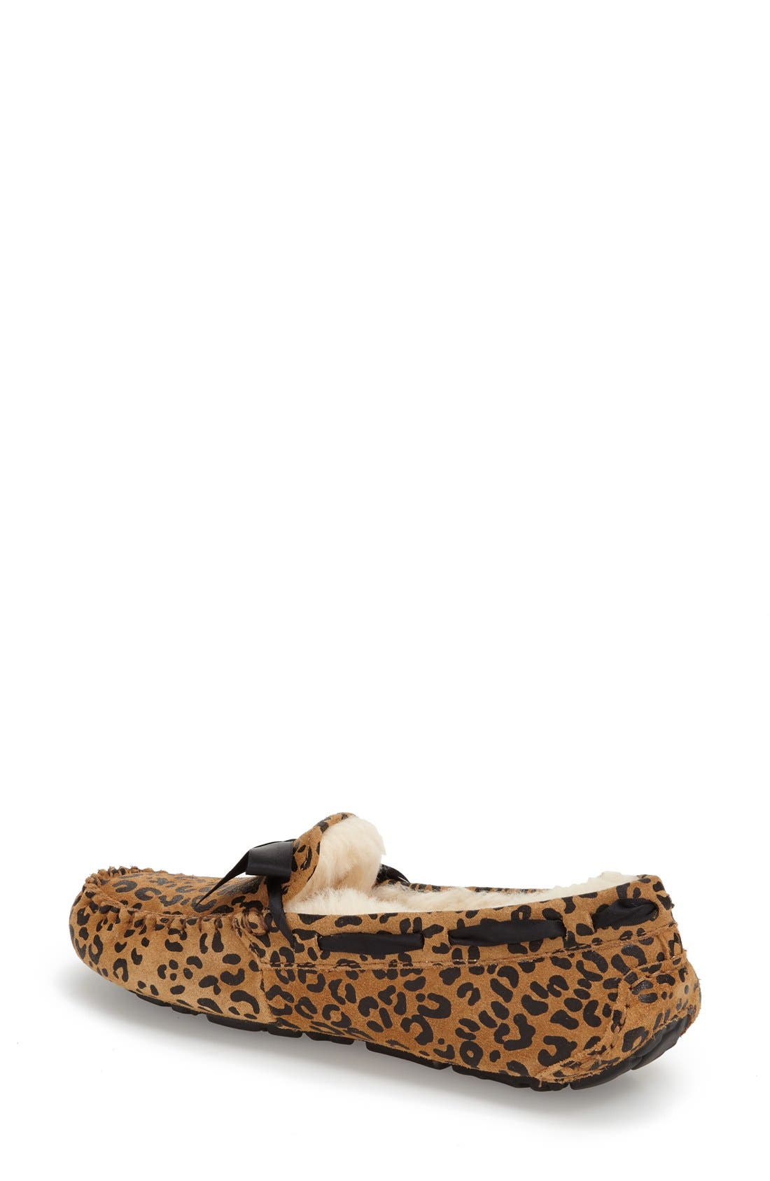 Alternate Image 2  - UGG® Dakota Leopard Print Bow Slipper (Women)