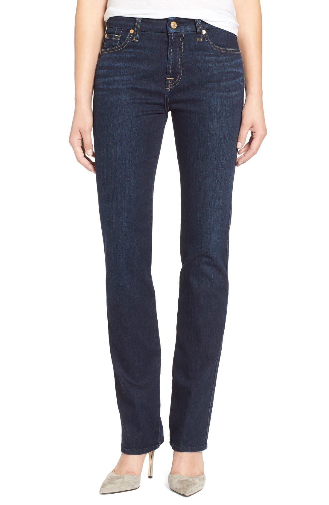 Alternate Image 1 Selected - 7 For All Mankind® 'Kimmie' Straight Leg Jeans (Dark Dusk Indigo)