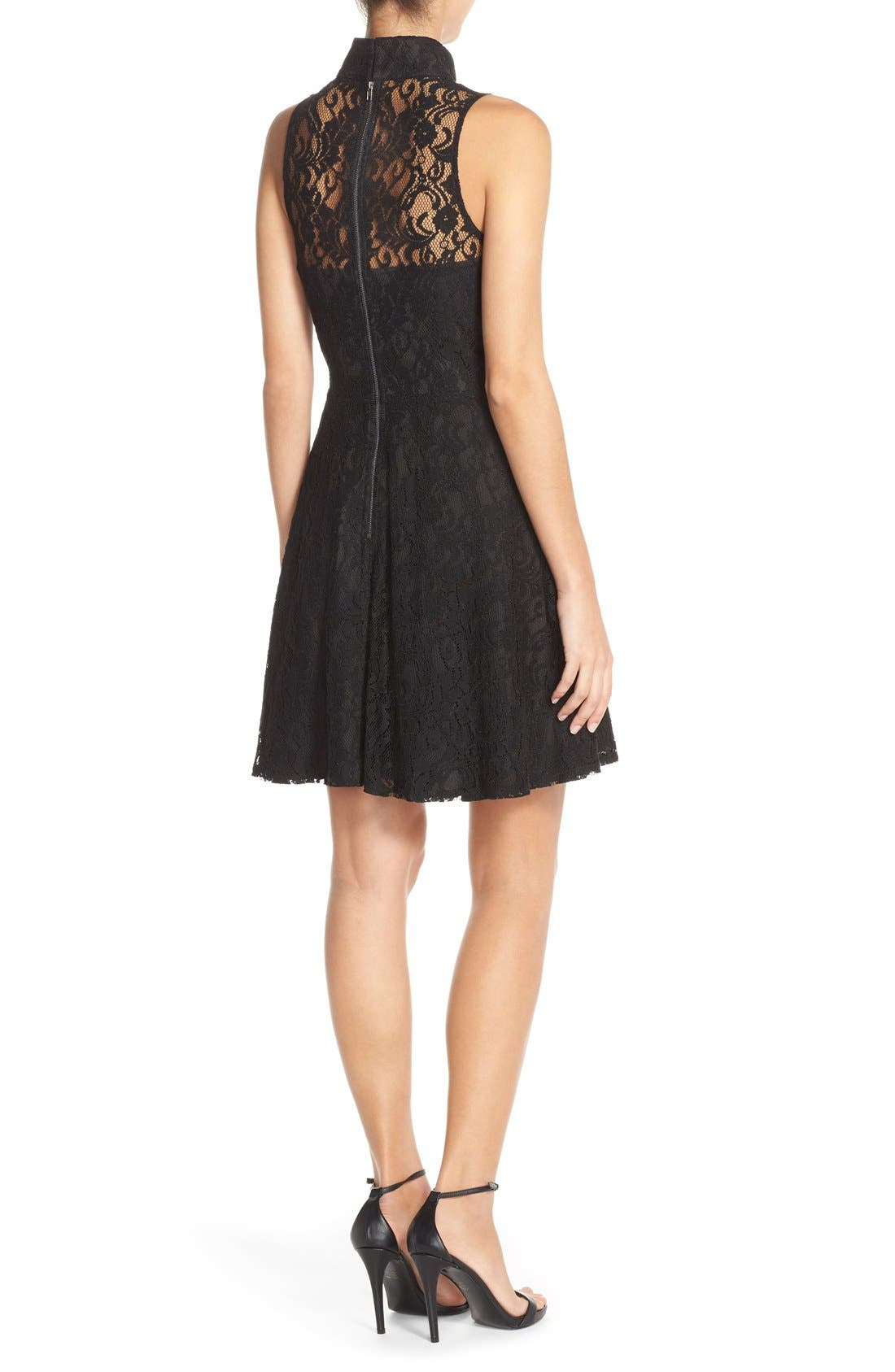 Alternate Image 2  - Adelyn Rae Mock Neck Lace Fit & Flare Dress