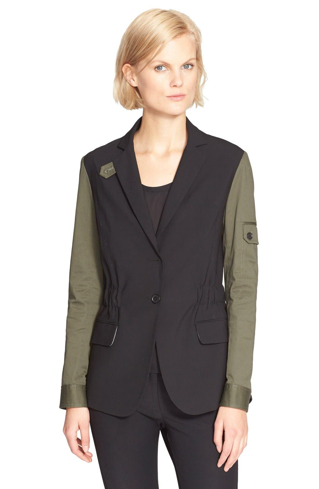 Alternate Image 1 Selected - Veronica Beard Army Jacket with Removable Hooded Dickey