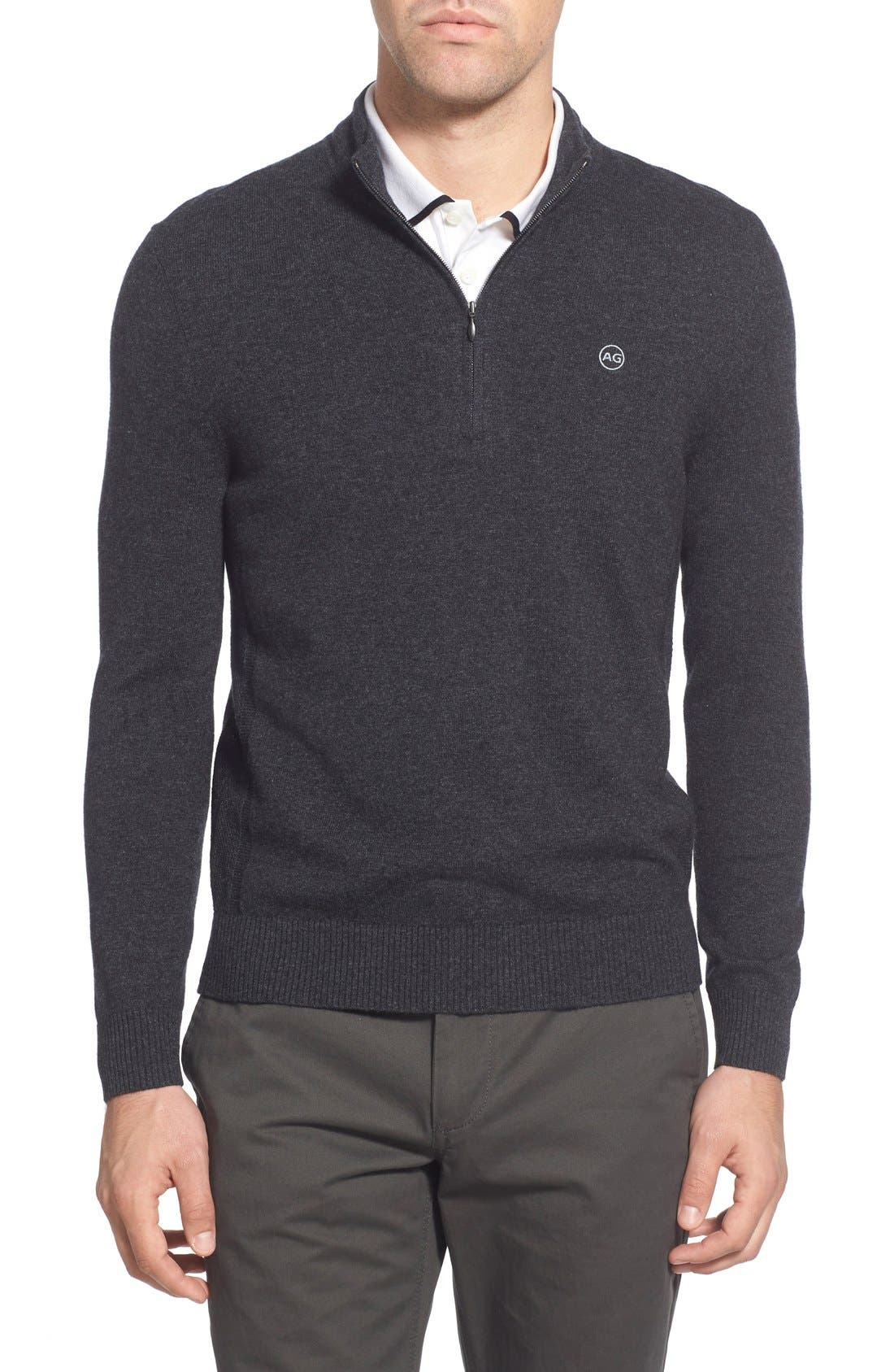 AG Green Label 'Baker' Slim Fit Wool & Cashmere Half Zip Sweater