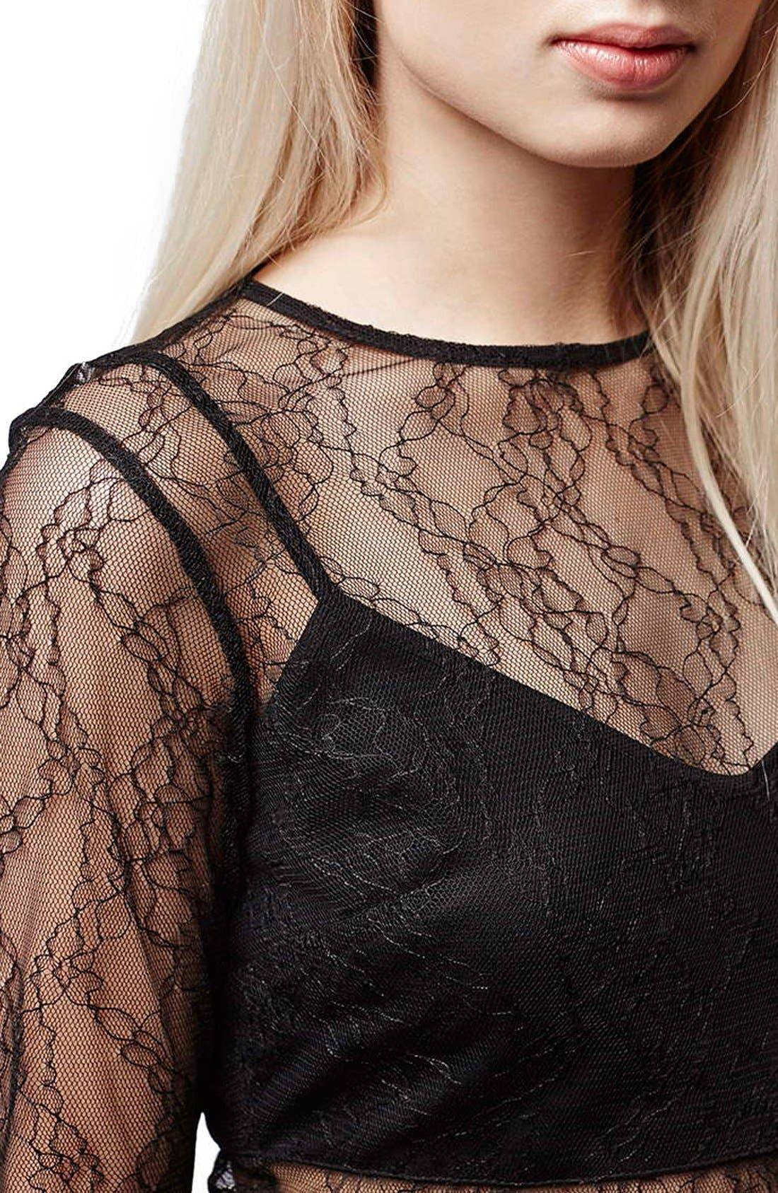 Alternate Image 2  - Topshop Lace Overlay Body-Con Dress (Regular & Petite)