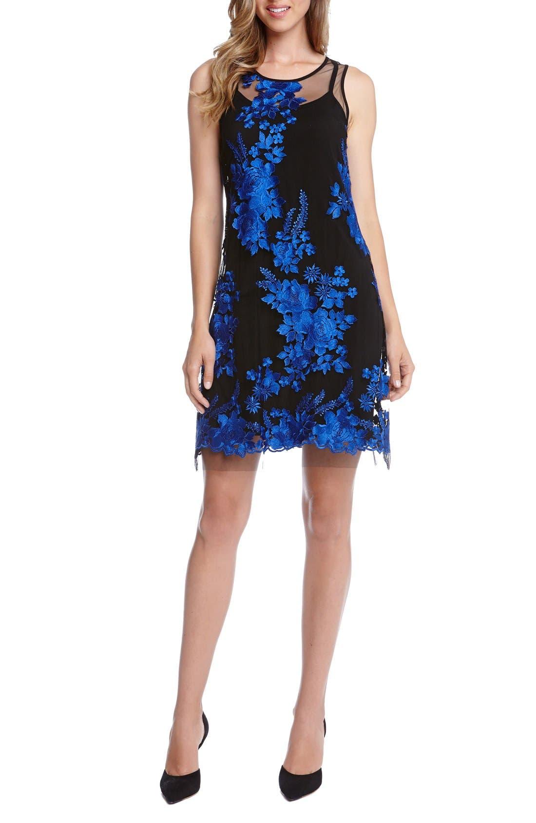Main Image - Karen Kane Embroidered Tulle A-Line Dress