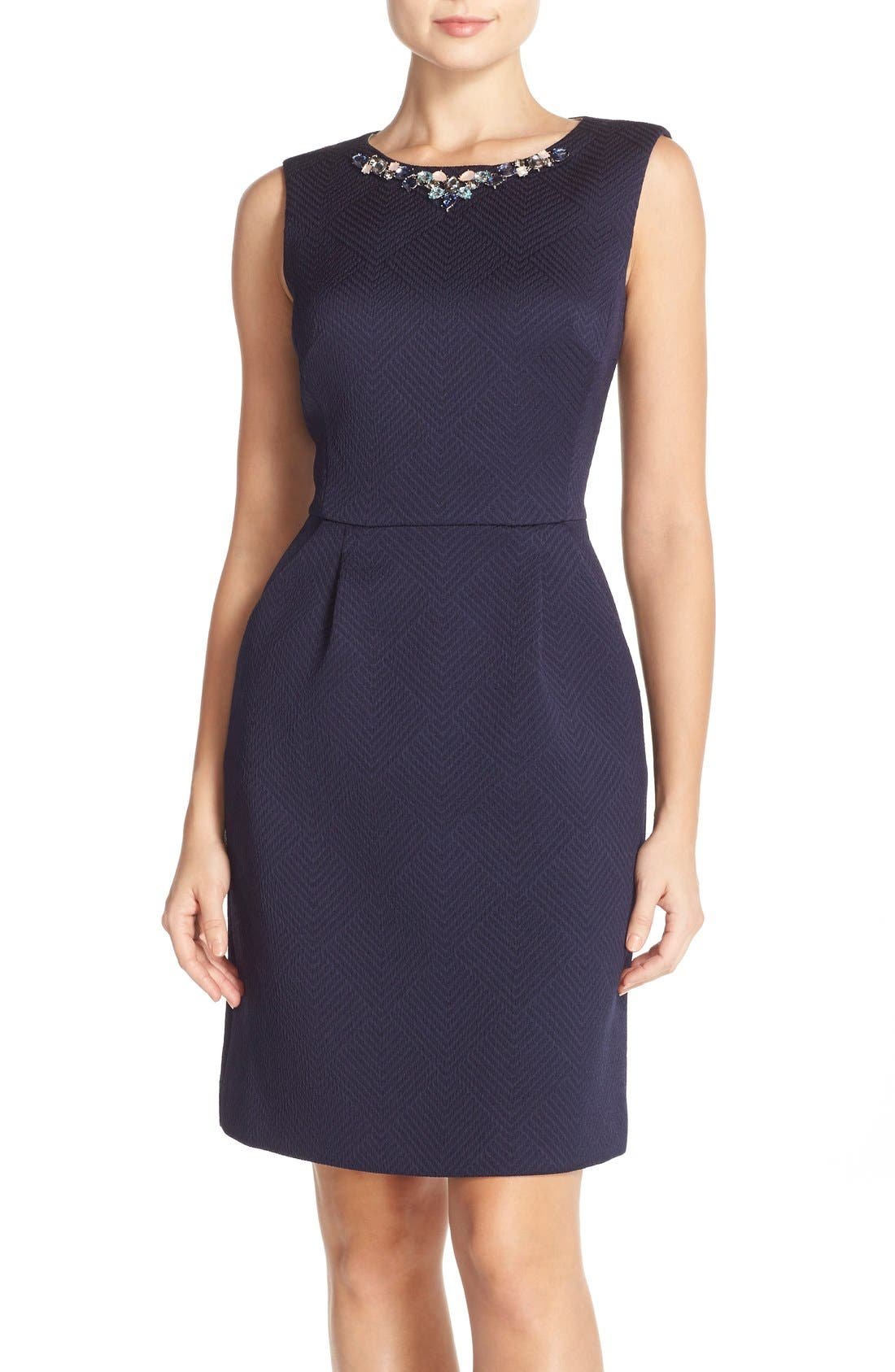 Main Image - Tahari Bejeweled Neck Jacquard Sheath Dress (Regular & Petite)