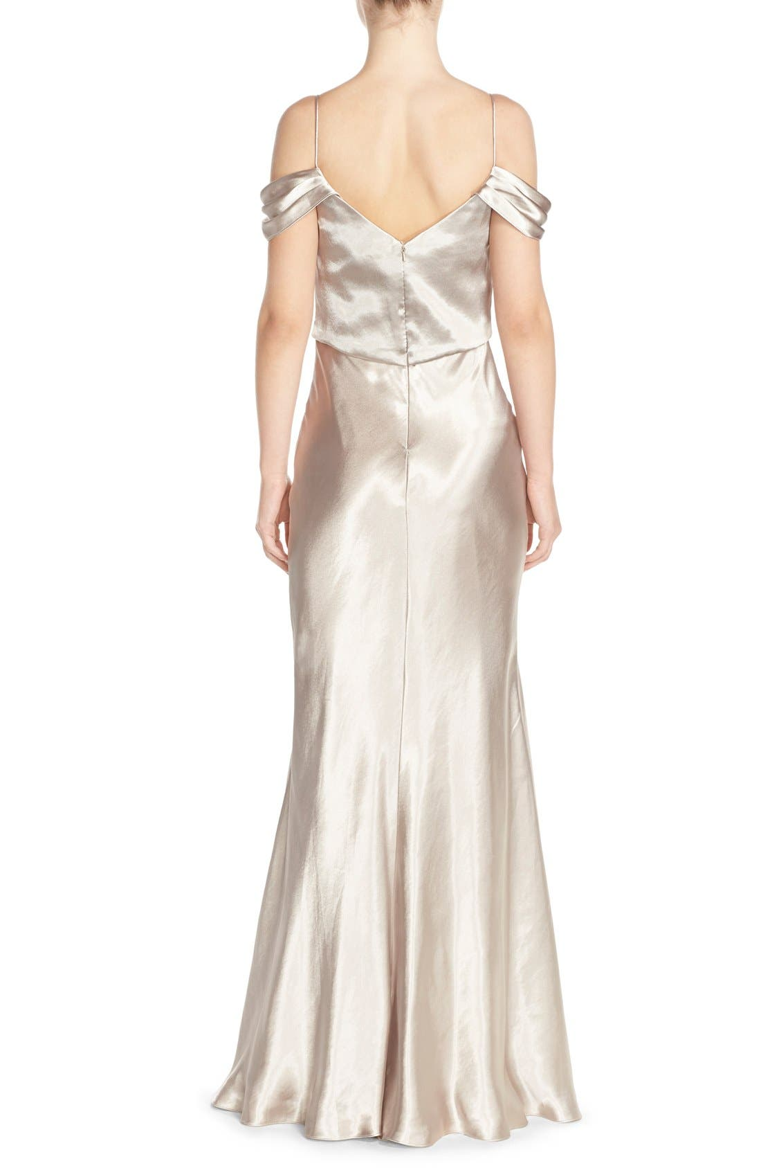 Alternate Image 2  - Jenny Yoo 'Sabine' Draped Pleat Neck Charmeuse Gown