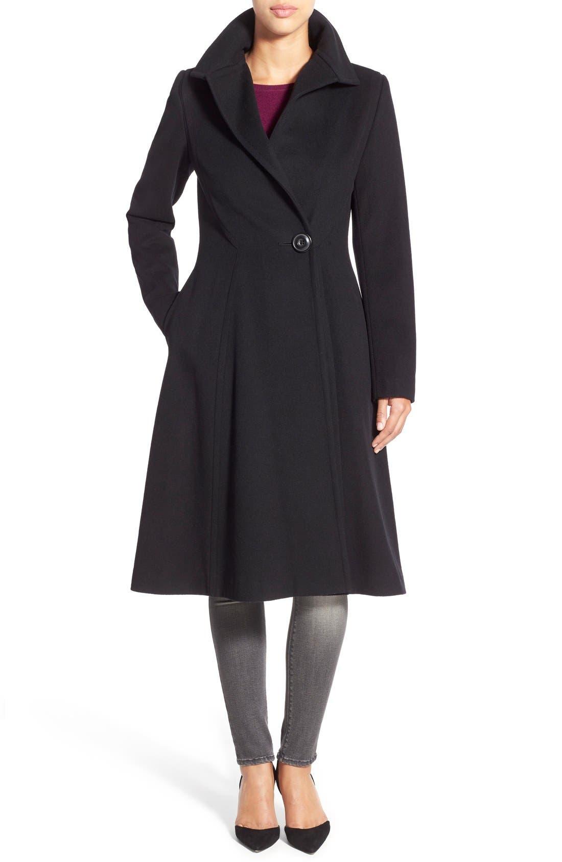 Main Image - Vera Wang Herringbone Long Fit & Flare Coat