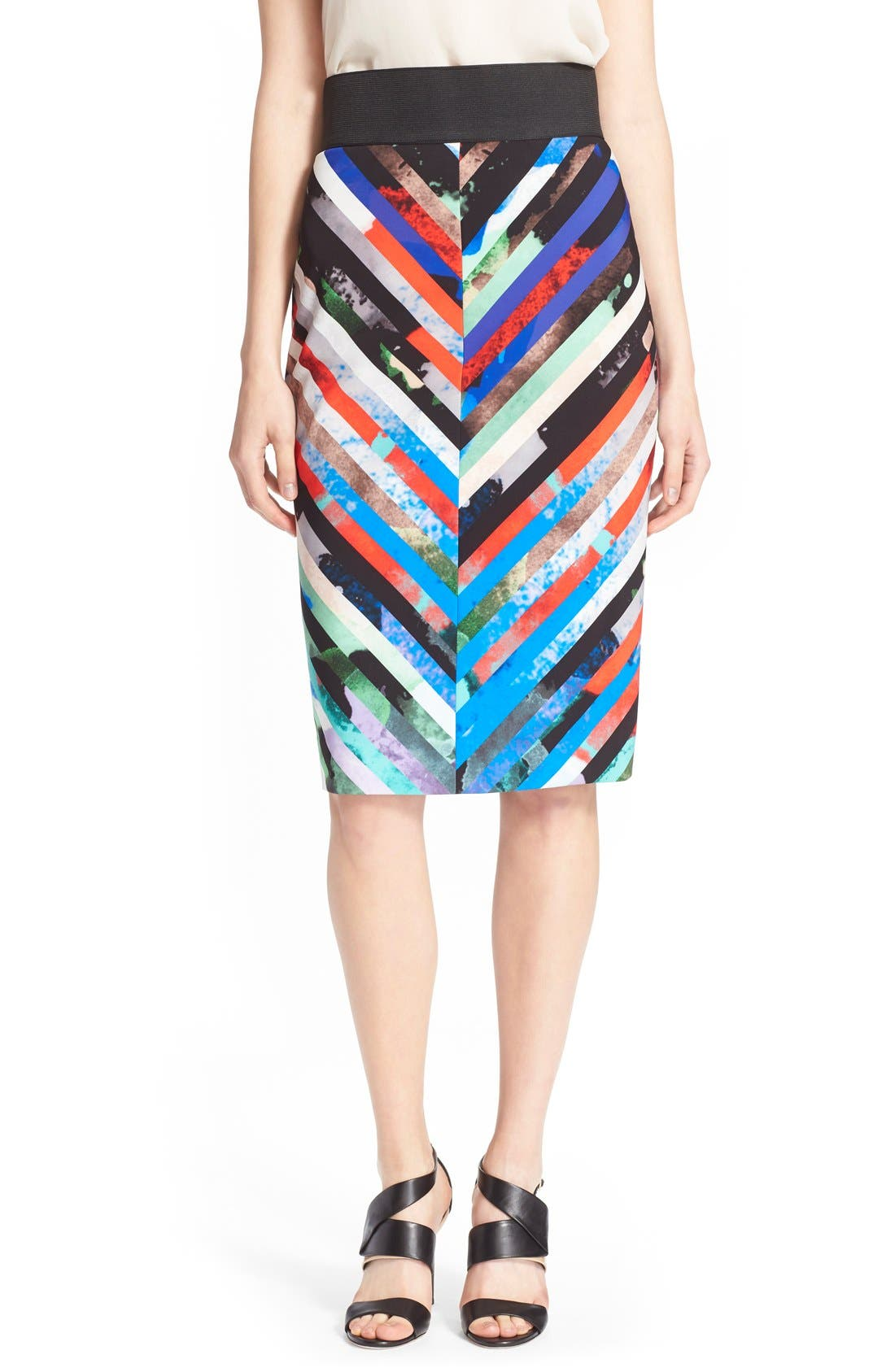 Alternate Image 1 Selected - Milly 'Mirage Stripe' Pencil Skirt