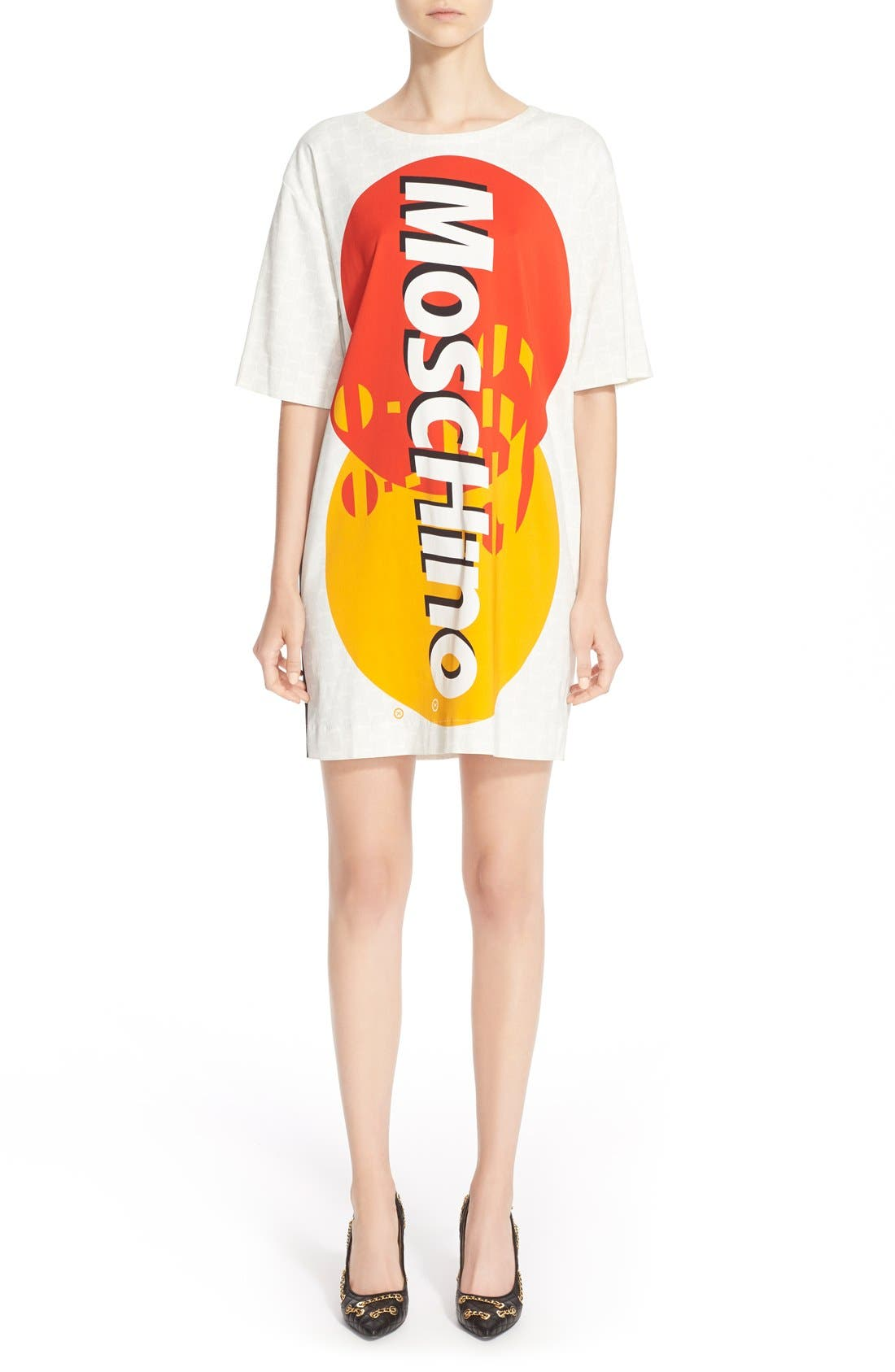 Alternate Image 1  - Moschino Credit Card Print Satin Dress