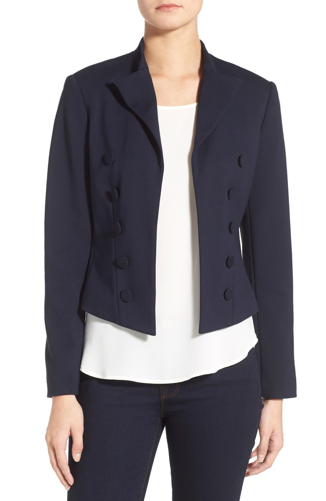 Main Image - Ellen Tracy Double Breasted Knit Blazer (Regular & Petite)