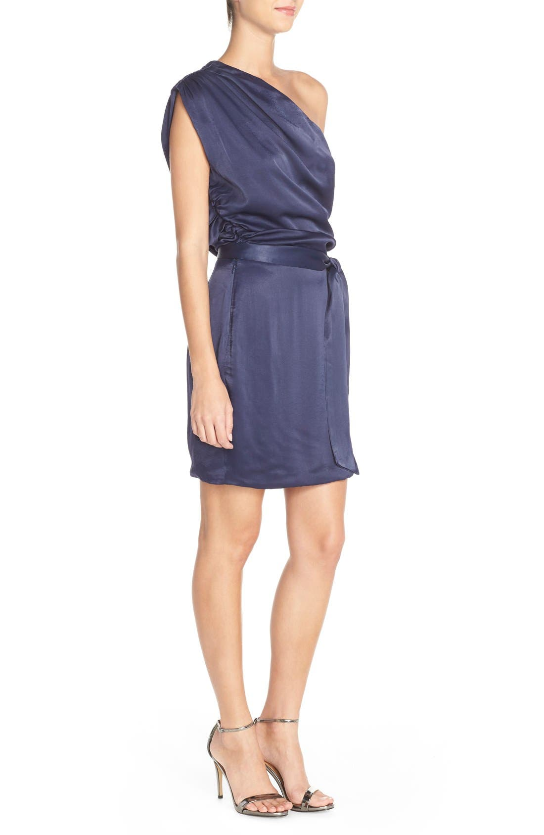Alternate Image 4  - Misha Collection 'Trista' One Shoulder Satin Sheath Dress