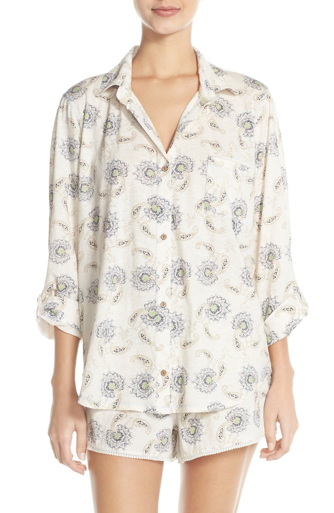 Alternate Image 1 Selected - Lucky Brand Print Cotton Short Pajamas