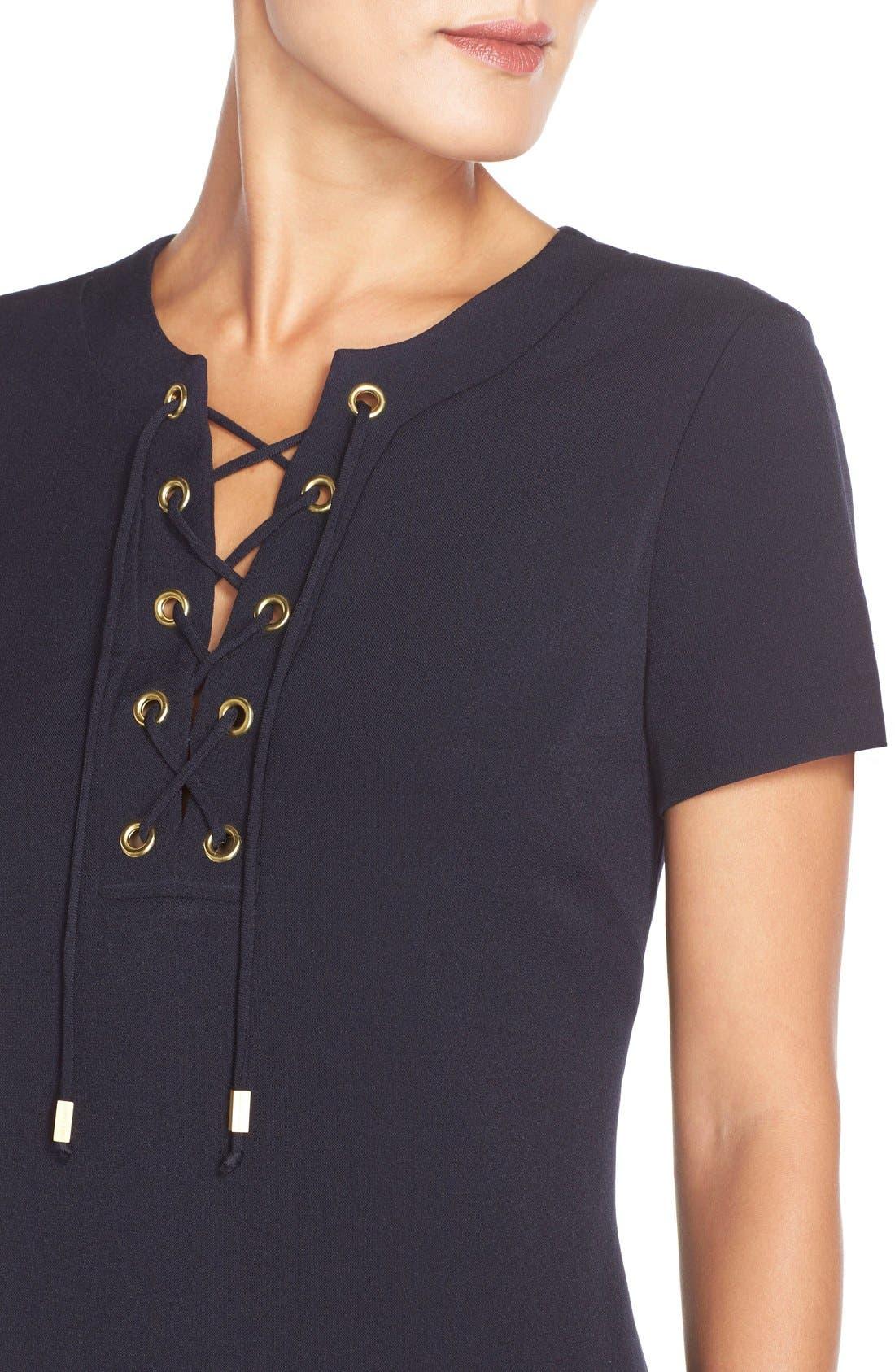 Alternate Image 5  - Eliza J Front Lace Shift Dress (Regular & Petite)