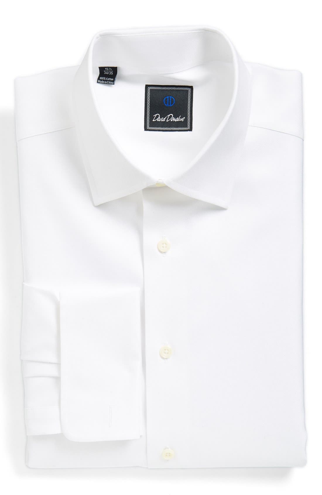 David Donahue Regular Fit Texture French Cuff Dress Shirt
