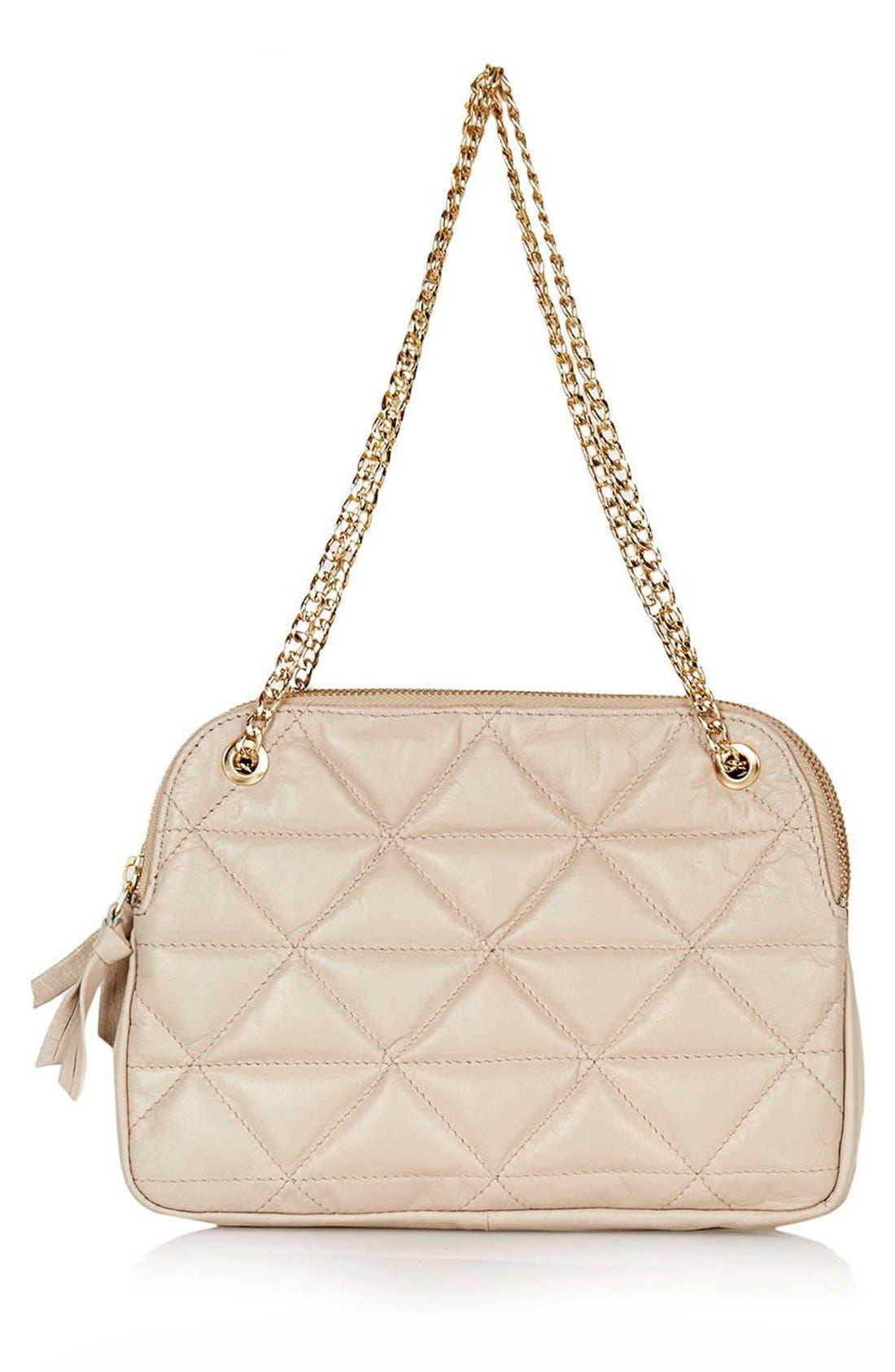 Main Image - Topshop Quilted Leather Shoulder Bag