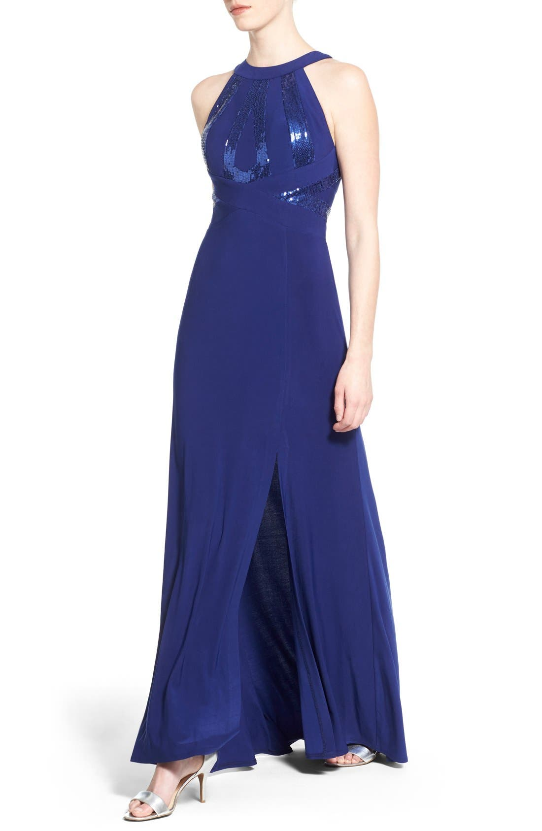 Alternate Image 4  - Morgan & Co. Sequin Halter Gown