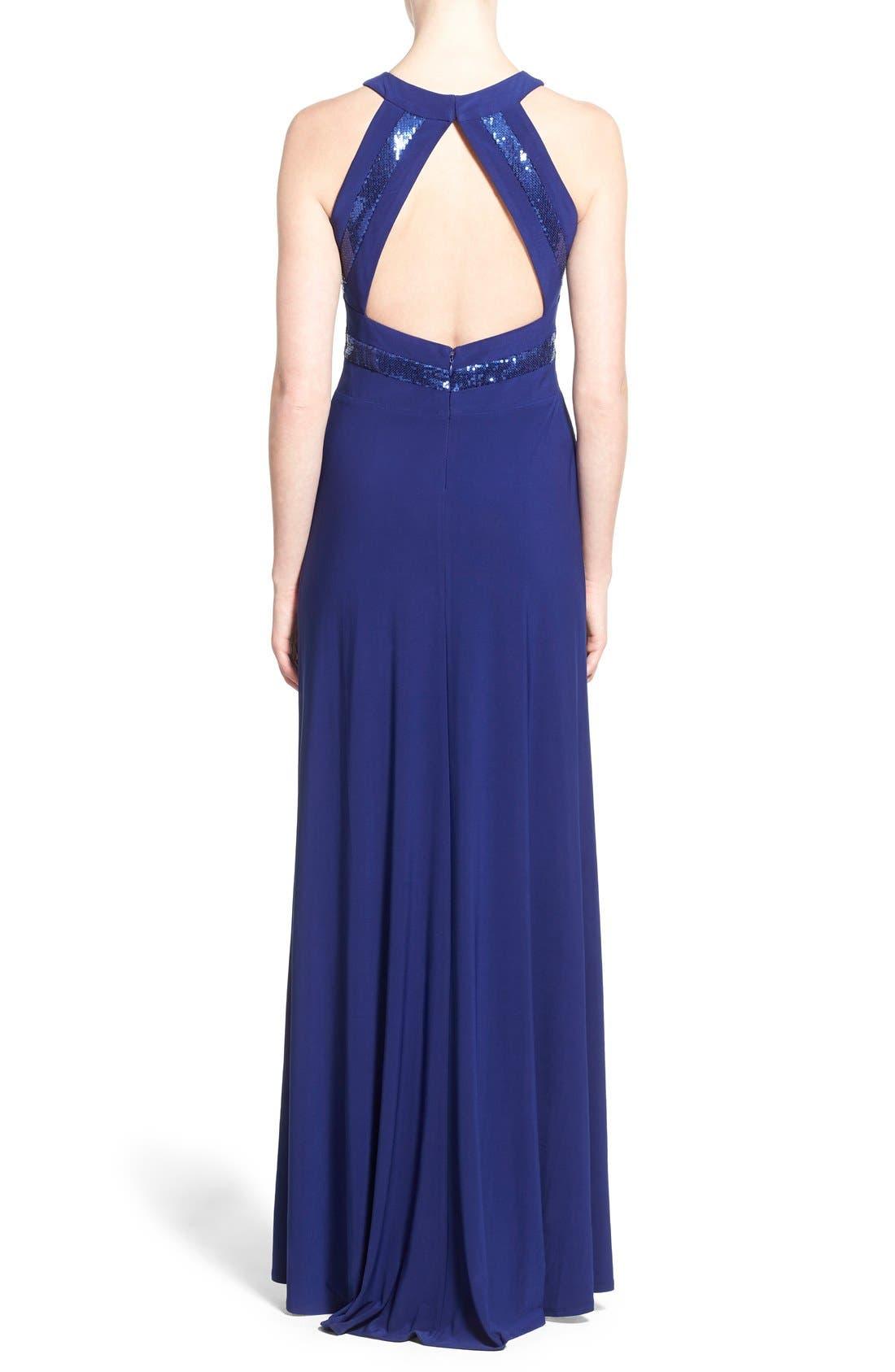 Alternate Image 2  - Morgan & Co. Sequin Halter Gown