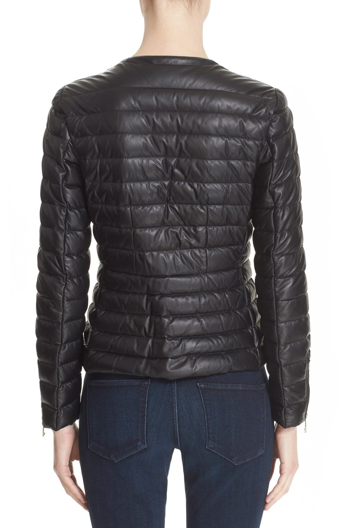 Alternate Image 2  - Moncler 'Palomete' Lambskin Leather Down Moto Jacket