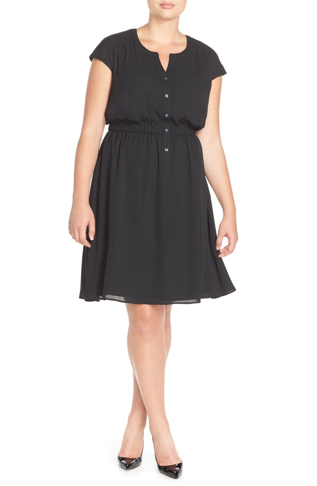 SEJOUR Crepe Georgette Cinched Waist Shirtdress