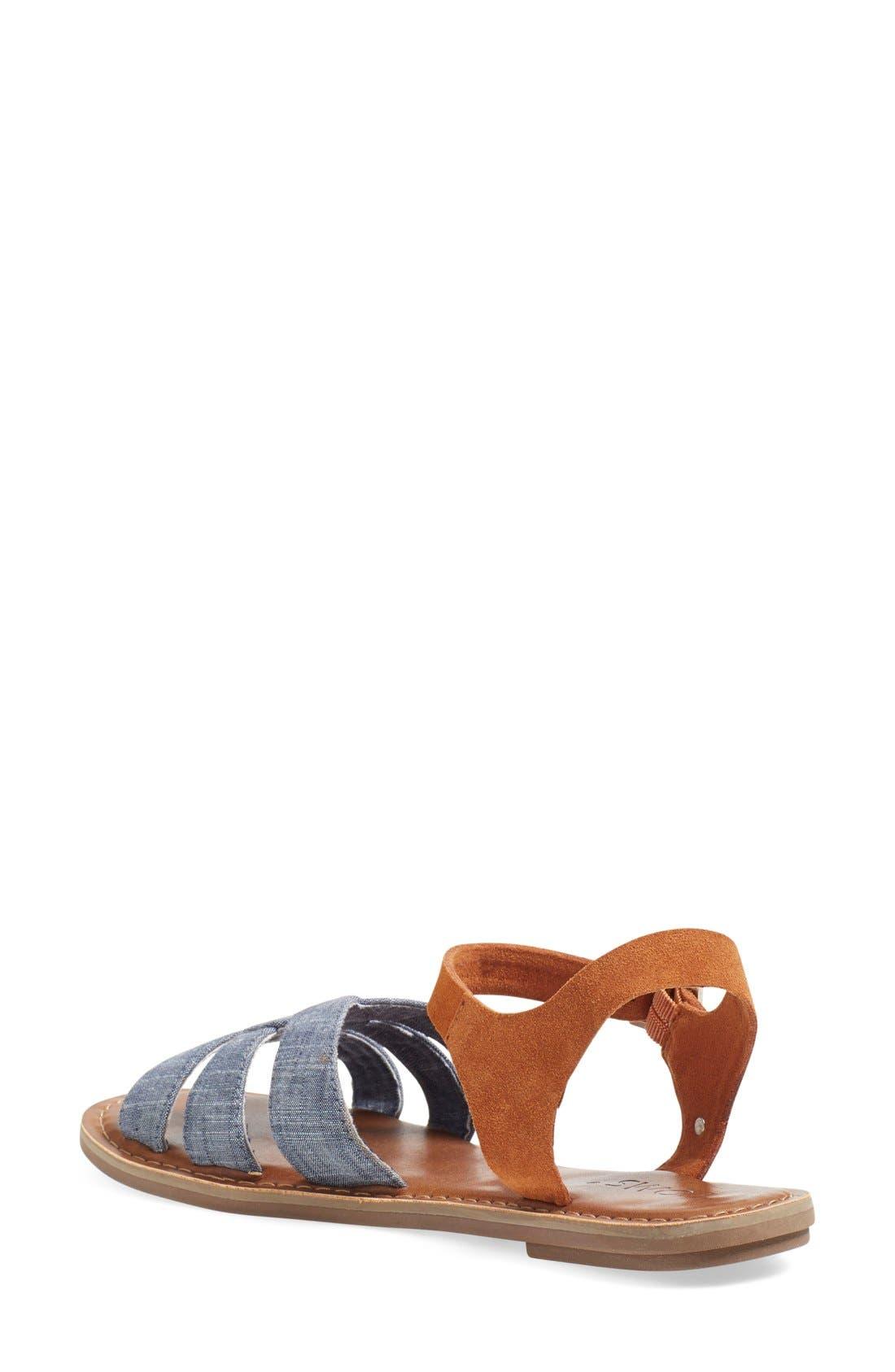 Alternate Image 2  - TOMS 'Zoe' Chambray Flat Quarter Strap Sandal (Women)