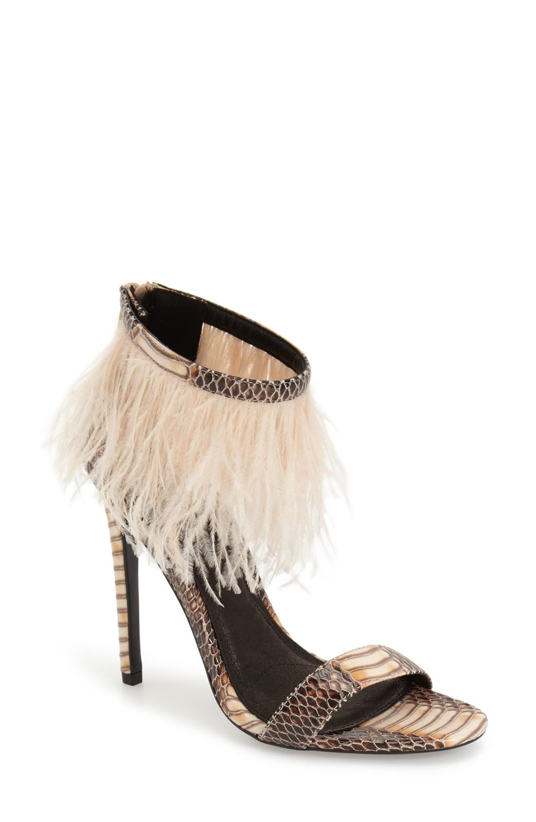 Main Image - Topshop 'Ravenous' Feather Sandal (Women)