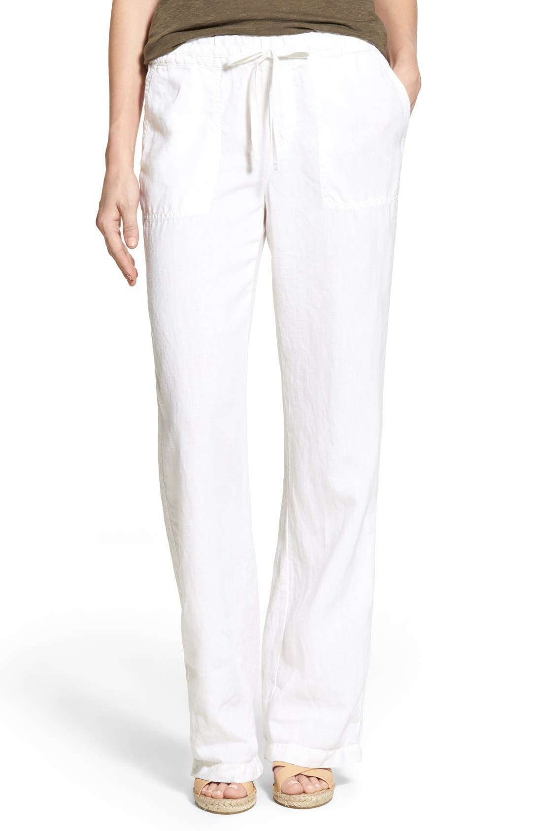 Alternate Image 1 Selected - Caslon® Drawstring Linen Pants (Regular & Petite)
