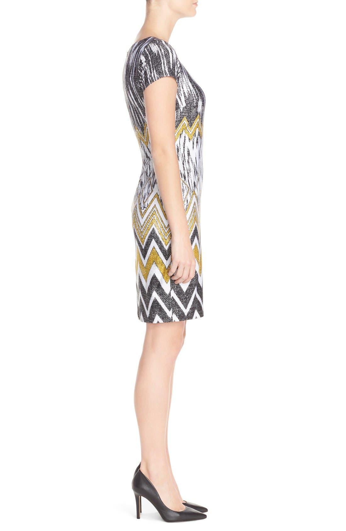 Alternate Image 3  - Ellen Tracy Chevron Print Jersey Sheath Dress