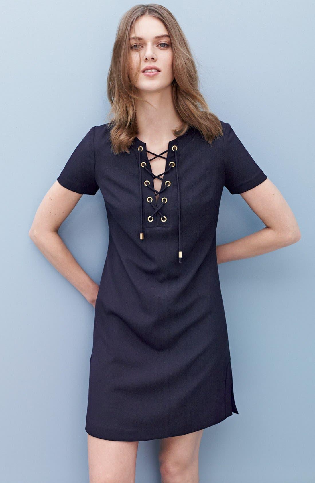 Alternate Image 7  - Eliza J Front Lace Shift Dress (Regular & Petite)