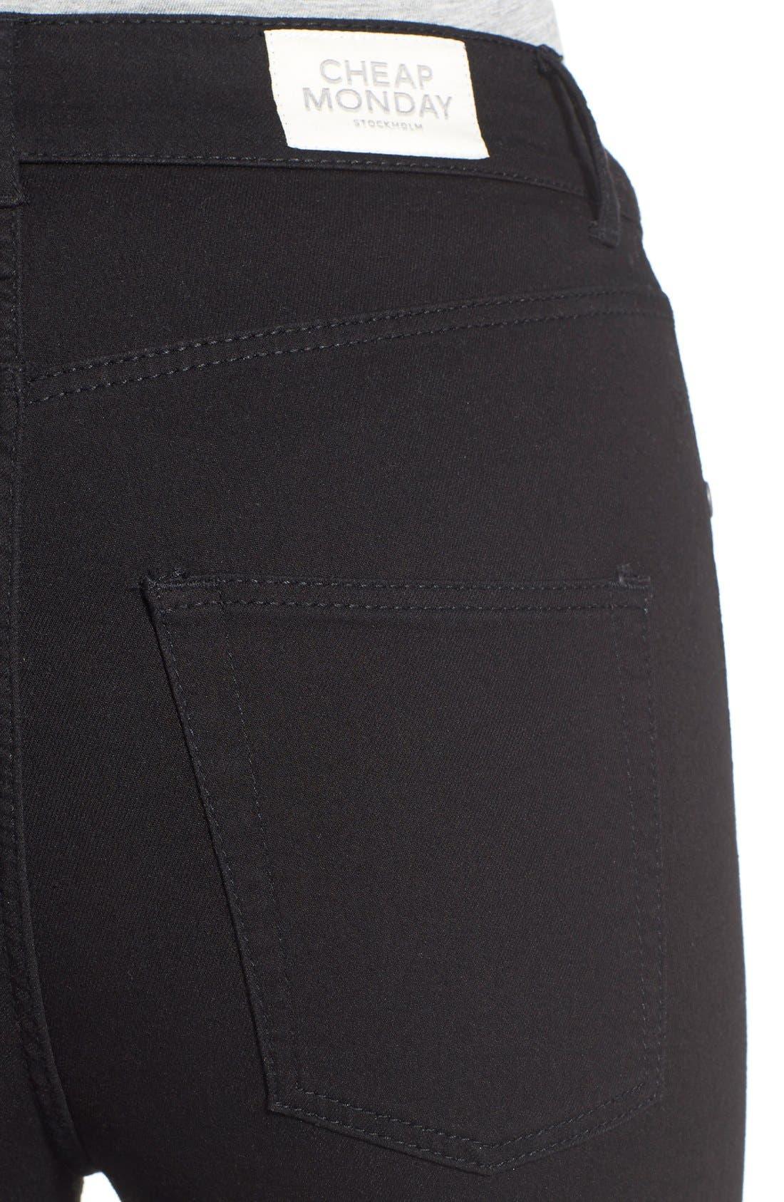 Alternate Image 4  - Cheap Monday High Rise Super Skinny Jeans (Black)