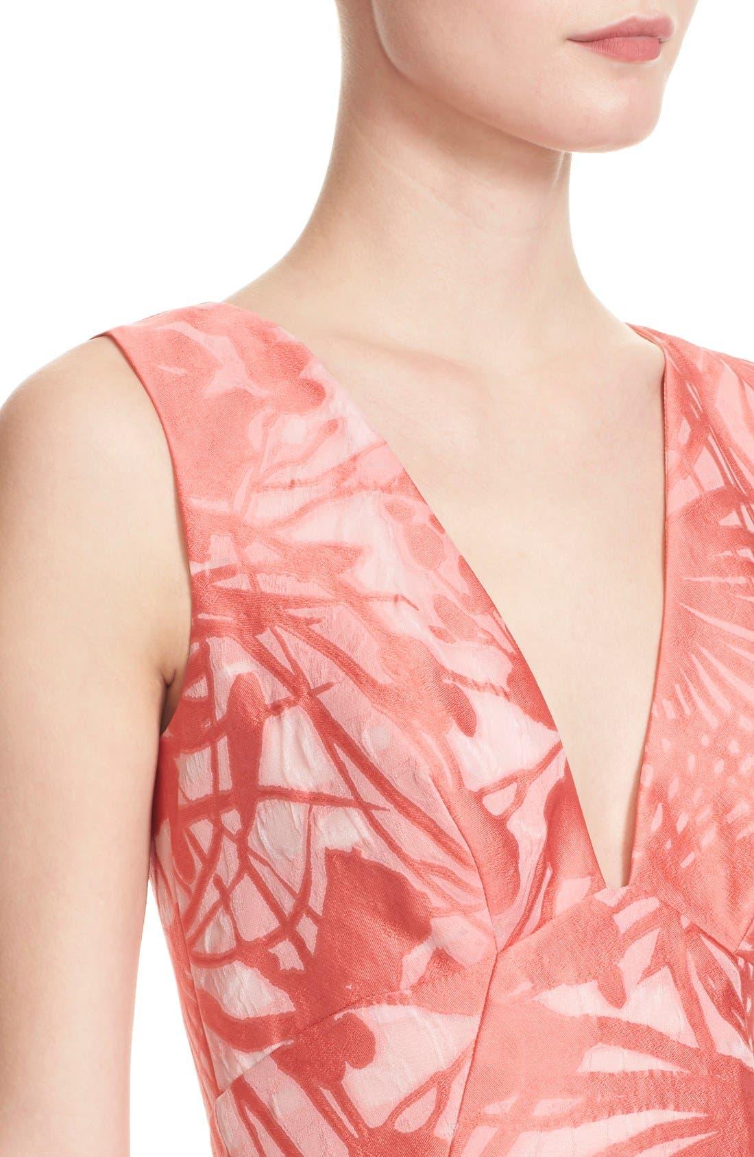 Alternate Image 5  - Lela Rose Floral Organza V-Neck Dress