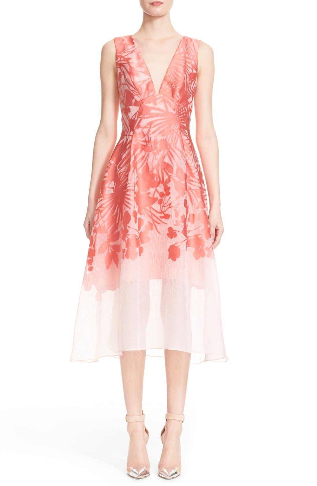 Alternate Image 1  - Lela Rose Floral Organza V-Neck Dress