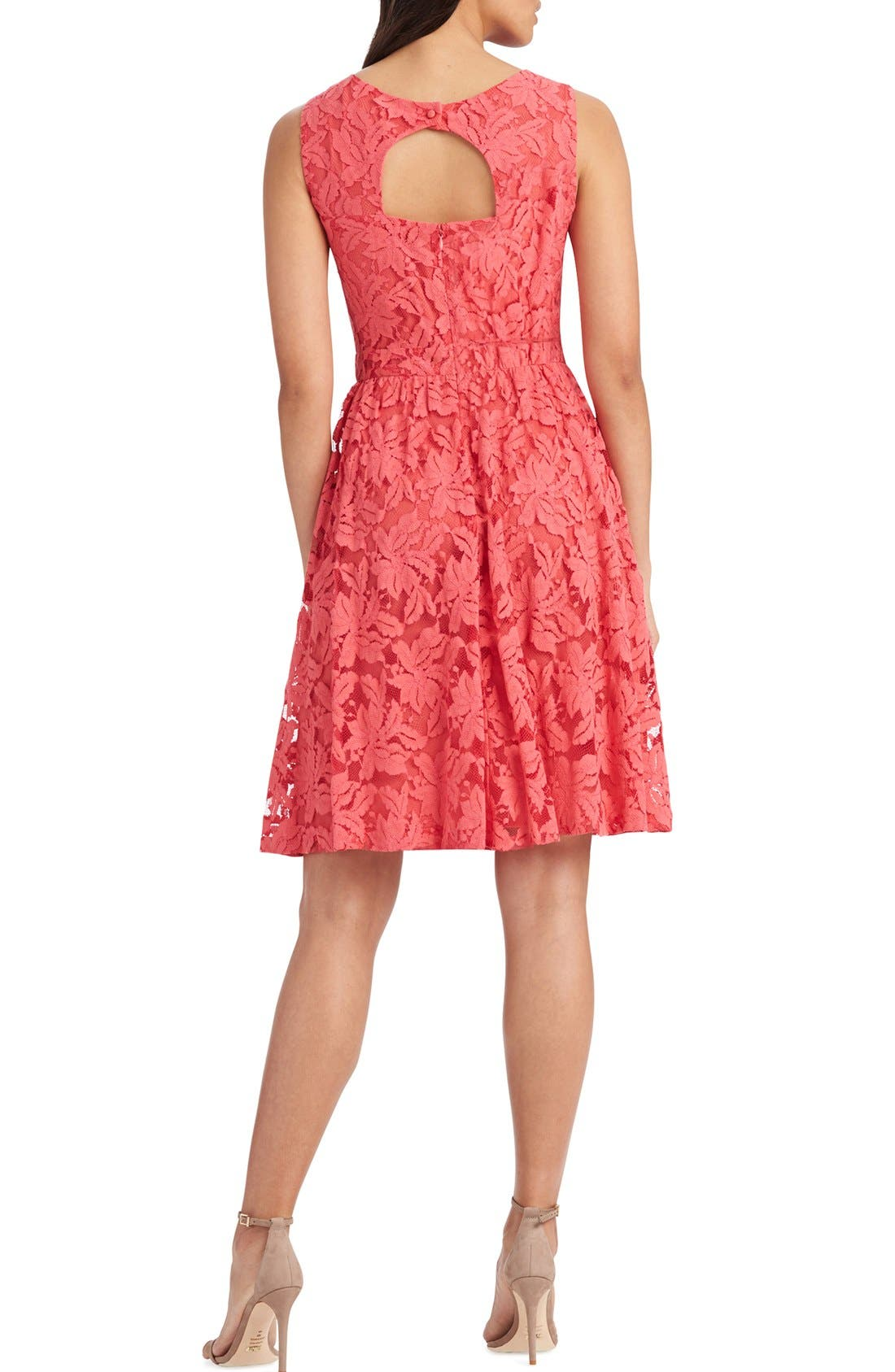 Alternate Image 2  - Donna Morgan Lace Fit & Flare Dress