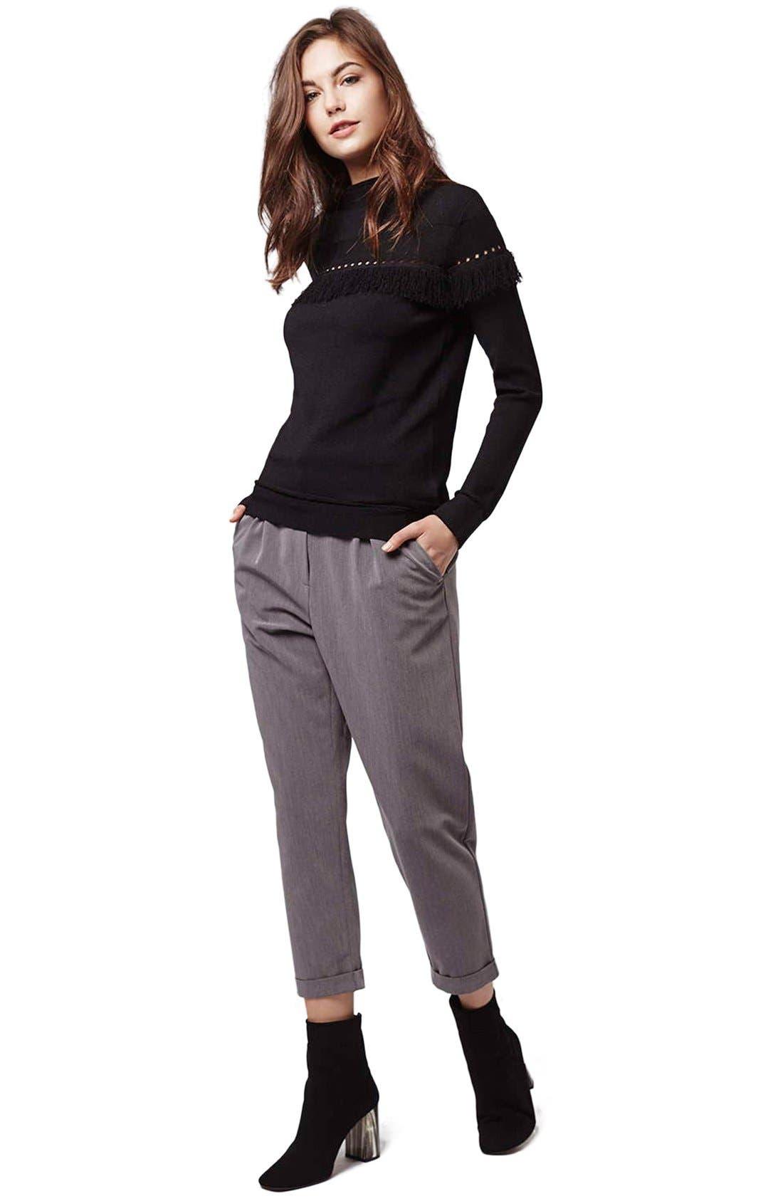 Alternate Image 2  - Topshop Perforated Fringe Sweater