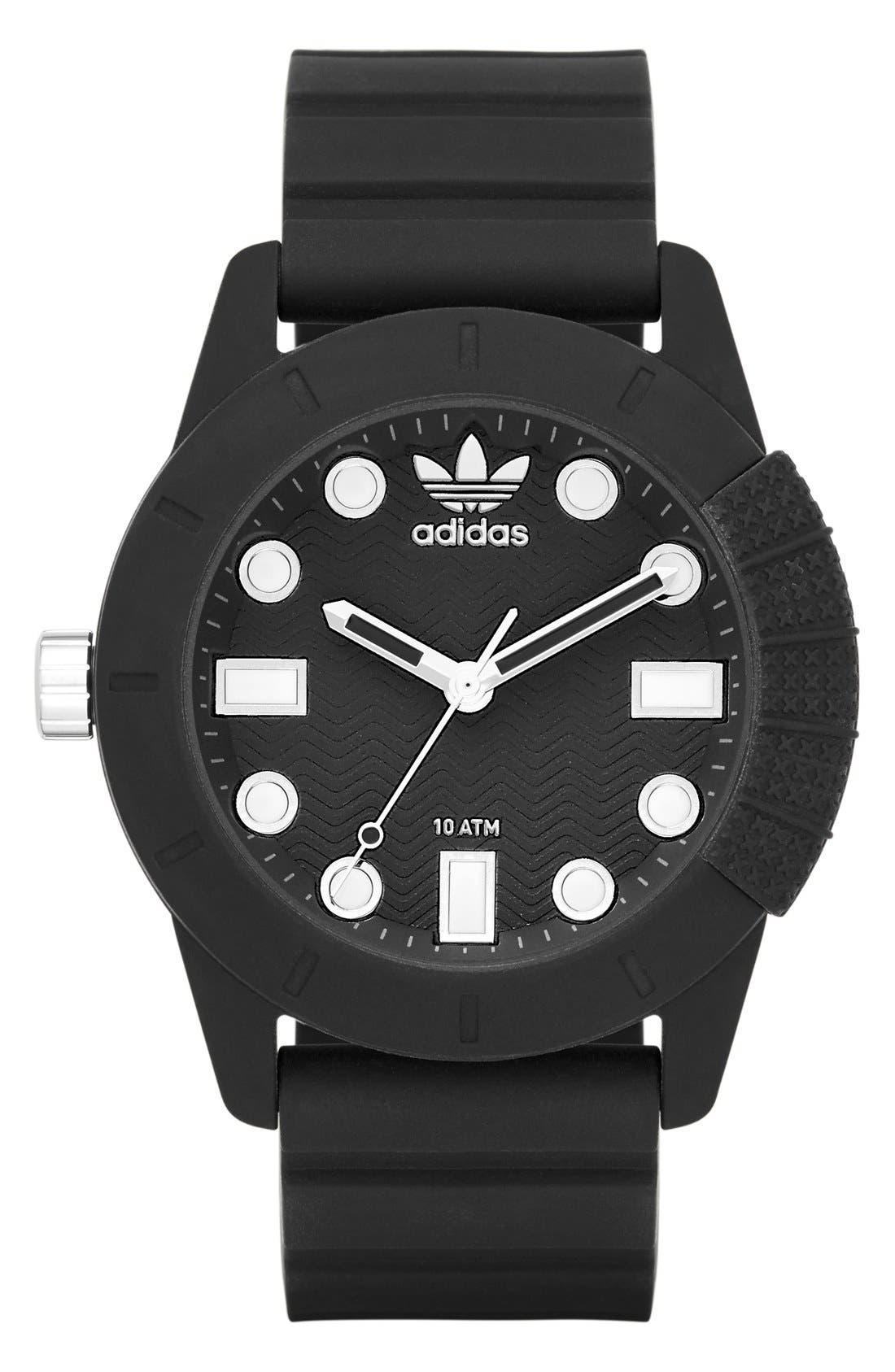ADIDAS 'adi-1969' Silicone Strap Watch, 44mm