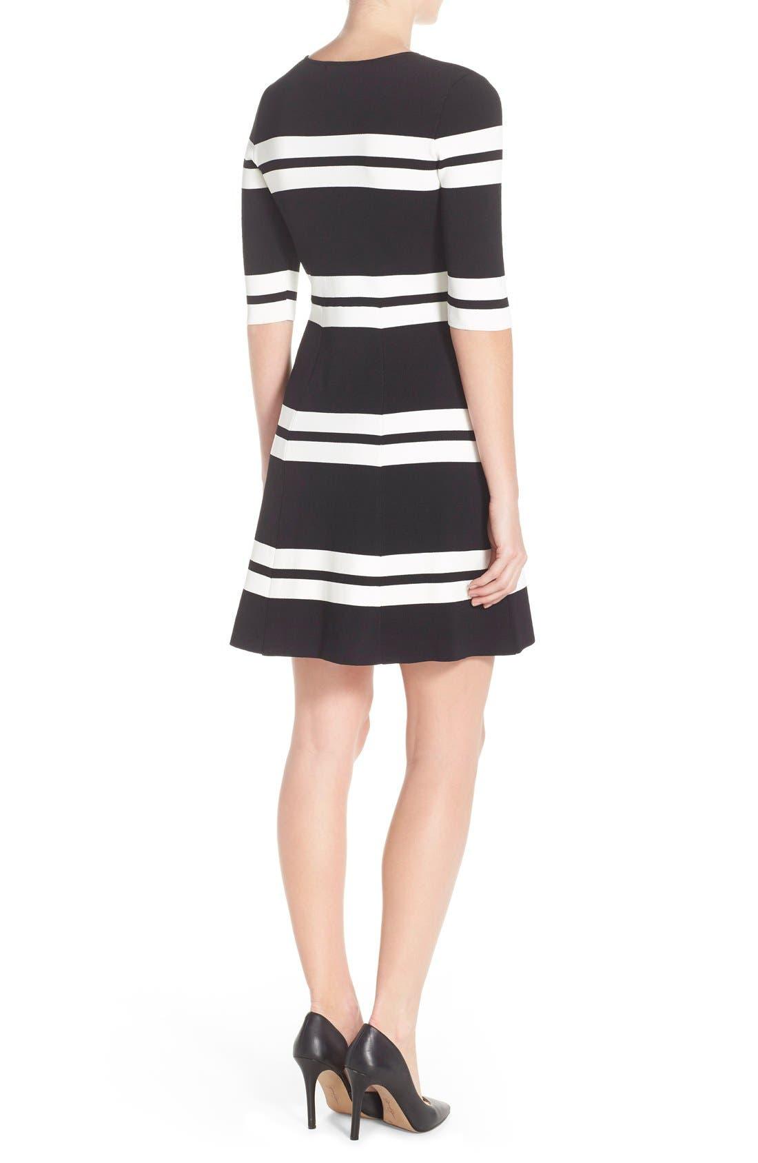 Alternate Image 2  - Eliza J Stripe Sweater Fit & Flare Dress (Regular & Petite)