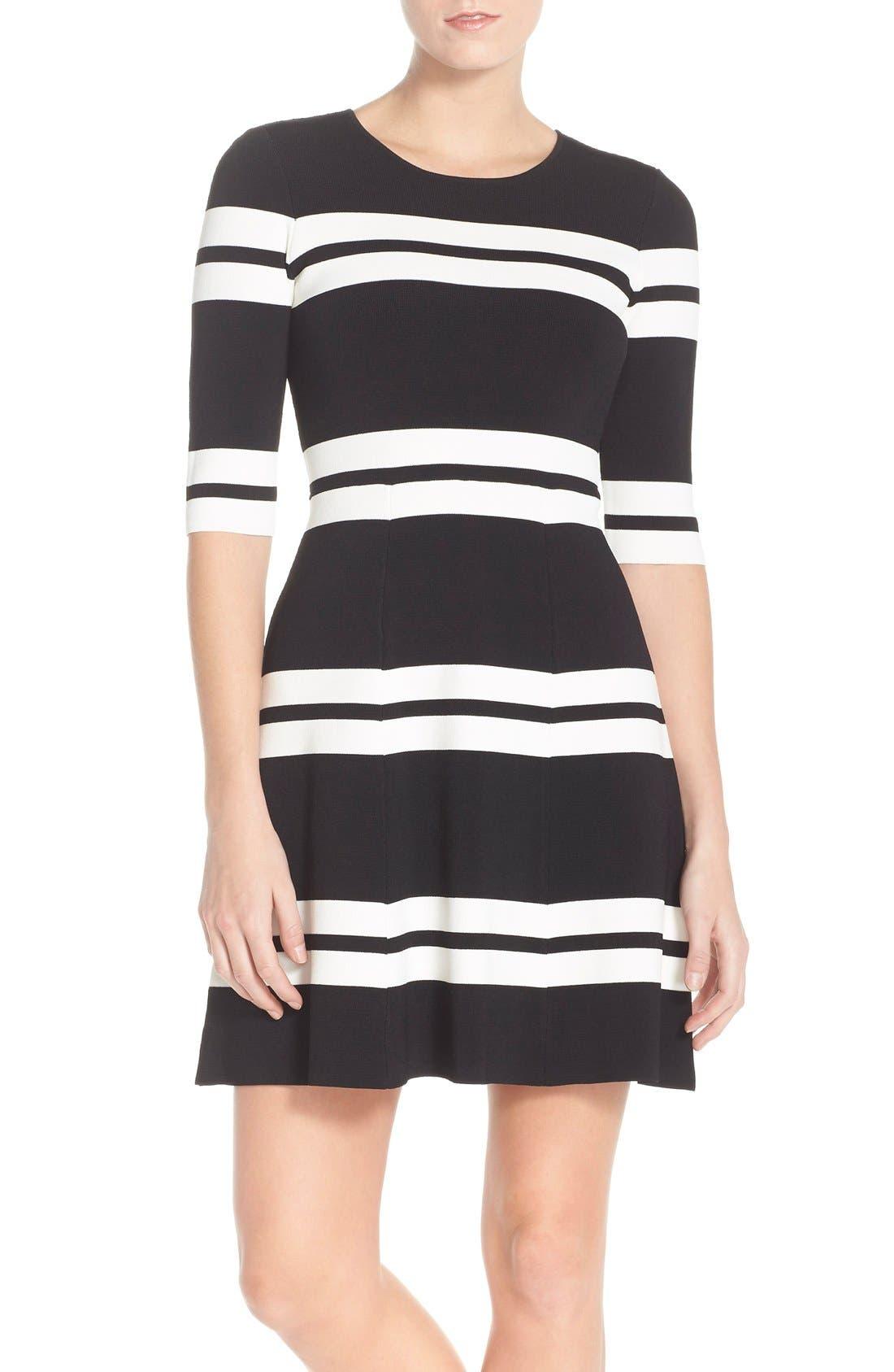 Main Image - Eliza J Stripe Sweater Fit & Flare Dress (Regular & Petite)