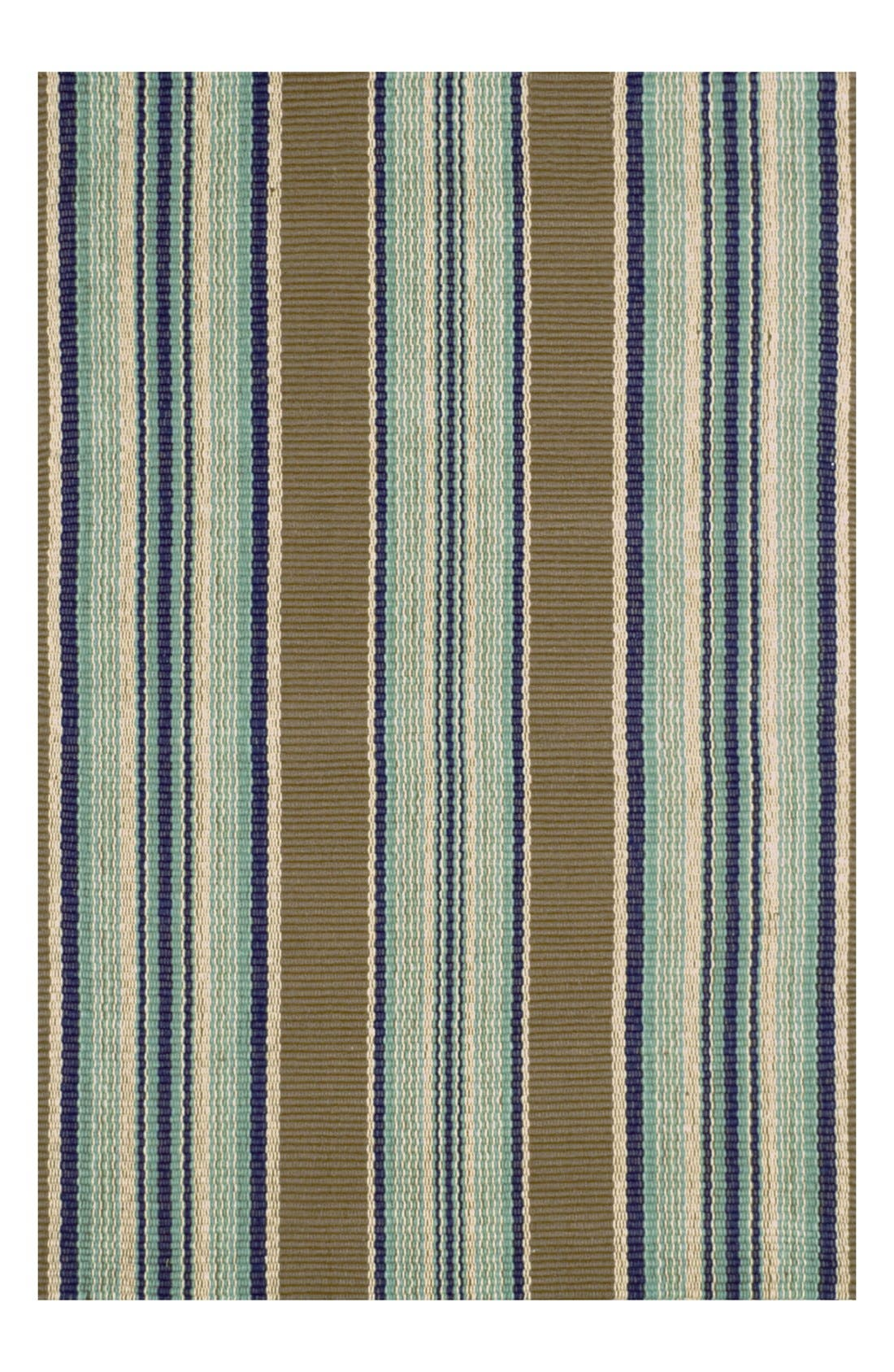 DASH & ALBERT 'Blue Heron' Stripe Cotton Rug.