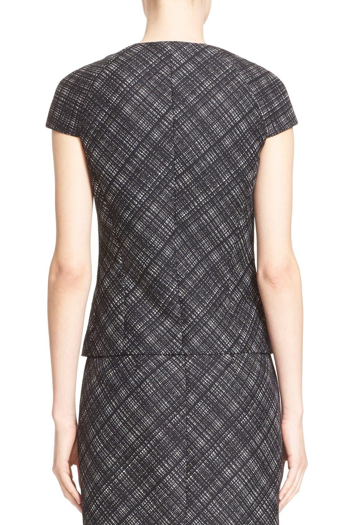 Alternate Image 2  - Michael Kors Jacquard Plaid Cap Sleeve Wool Jacket