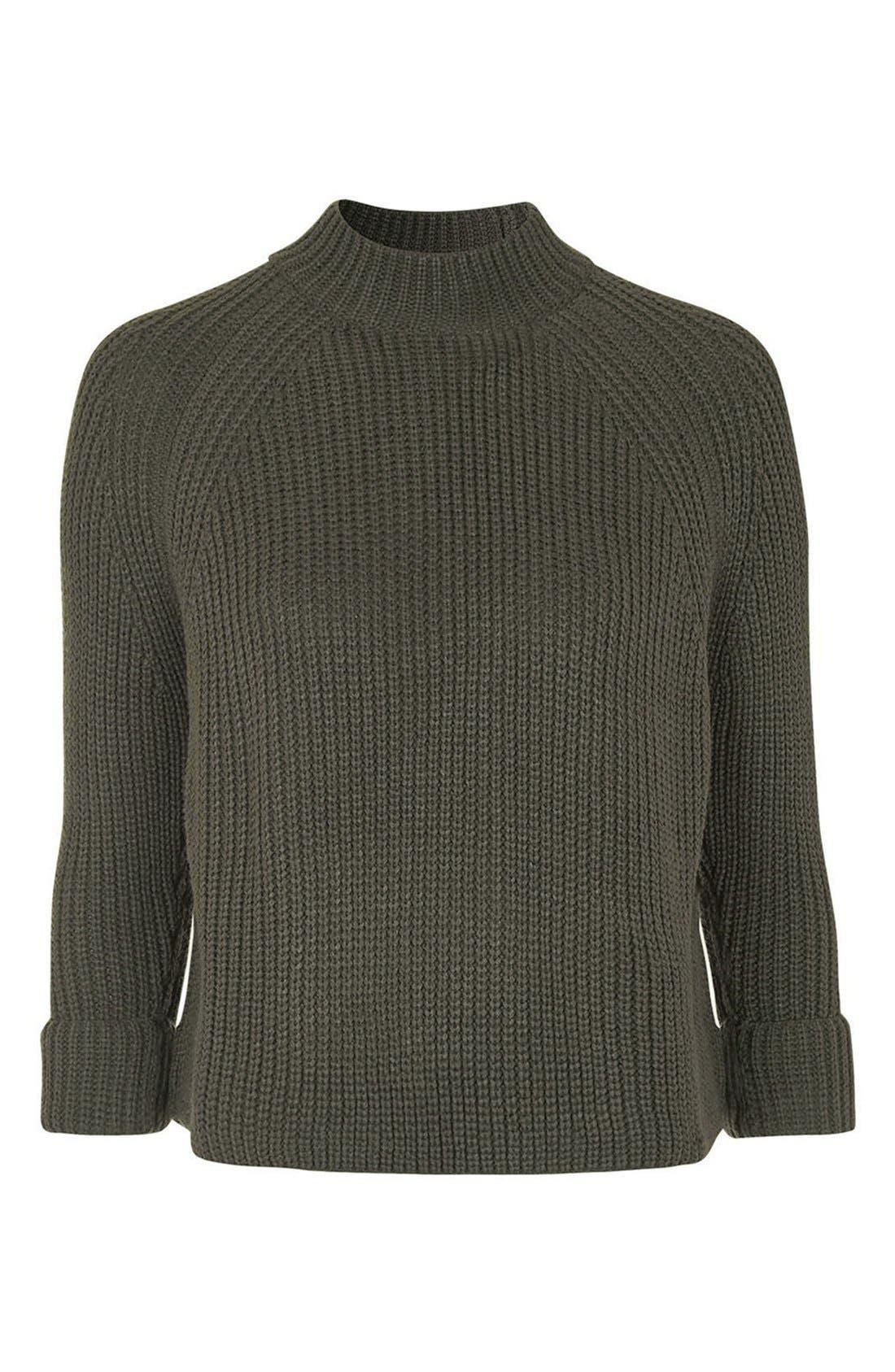 Alternate Image 4  - Topshop Mock Neck Raglan Sweater