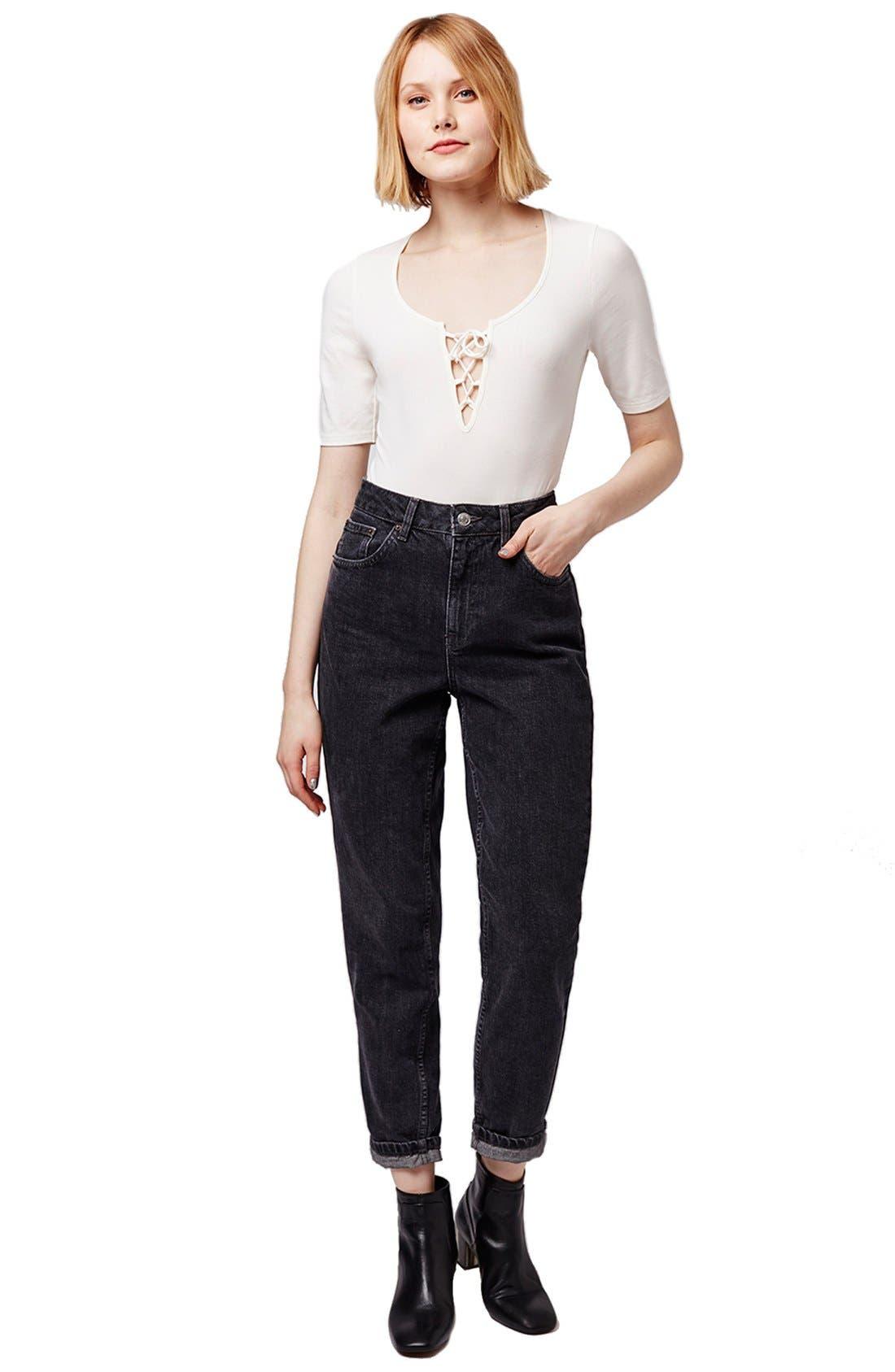 Alternate Image 2  - Topshop Lace-Up Bodysuit
