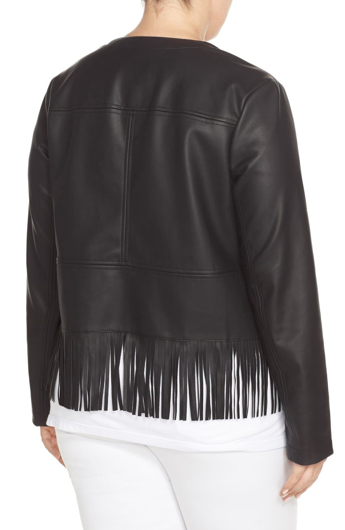 Alternate Image 2  - Bernardo Fringe Faux Leather Jacket (Plus Size)