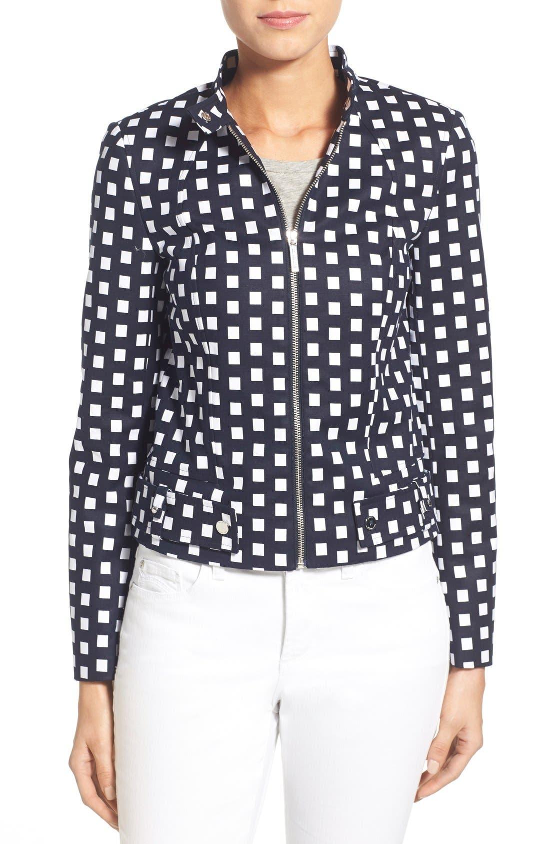 Main Image - MICHAEL Michael Kors Check Front Zip Moto Jacket (Petite)