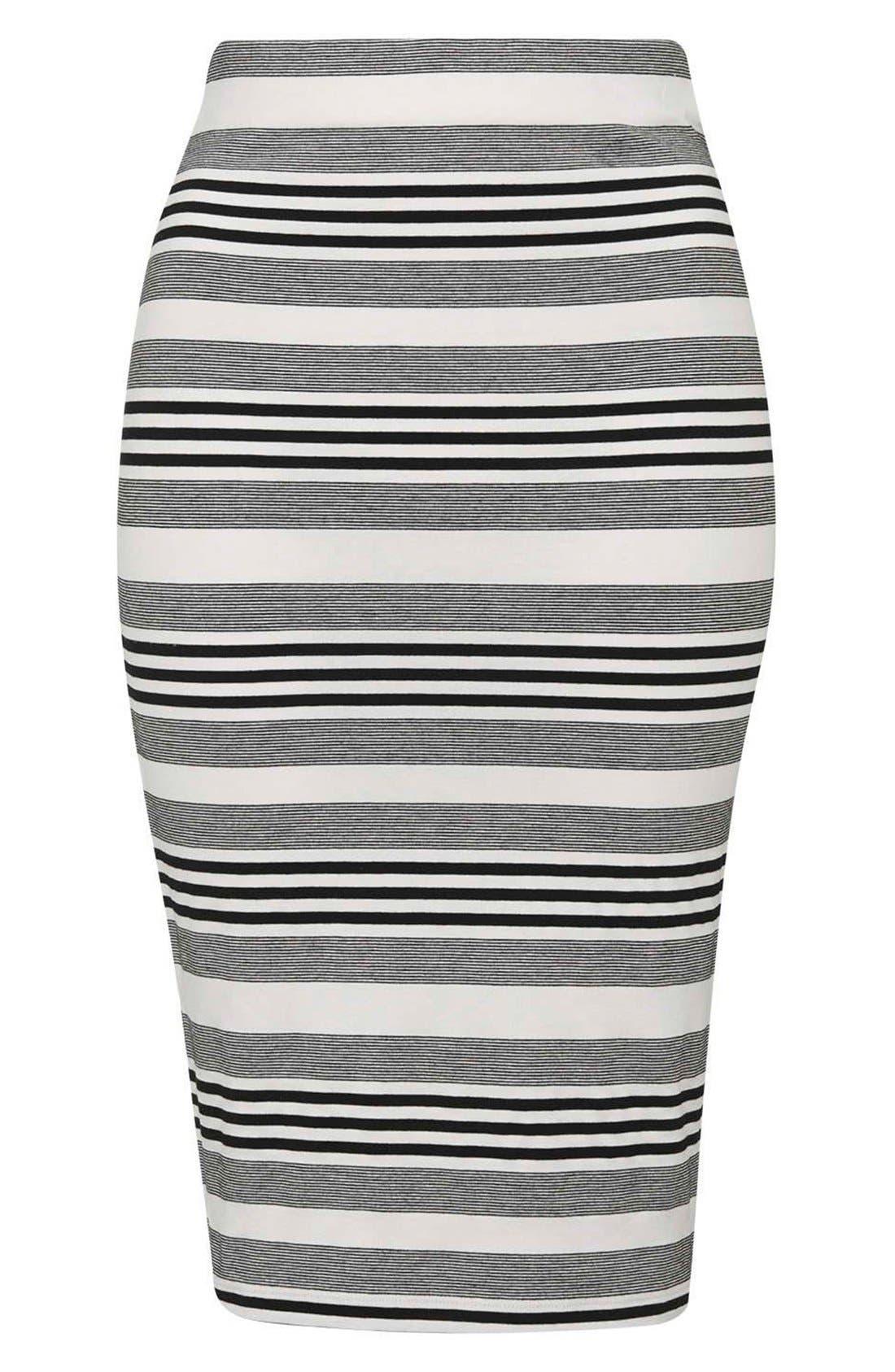 Alternate Image 4  - Topshop Stripe Jersey Tube Skirt (Petite)