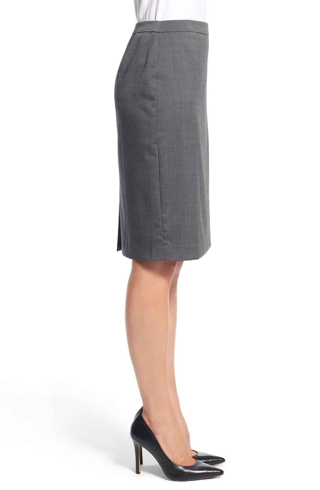Alternate Image 4  - Halogen® 'Mini Grid' Stretch Suit Skirt (Regular & Petite)