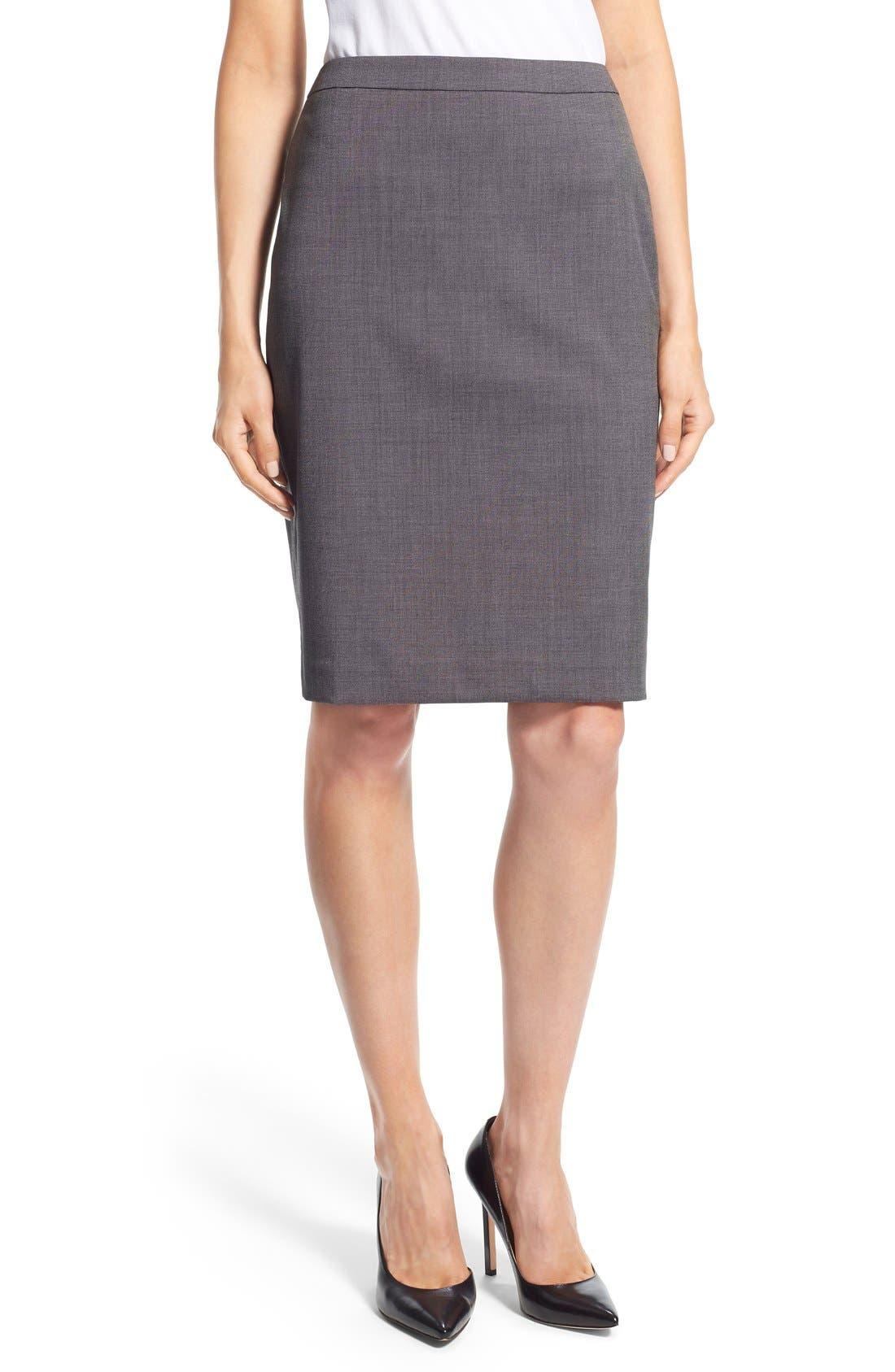 Main Image - Halogen® 'Mini Grid' Stretch Suit Skirt (Regular & Petite)