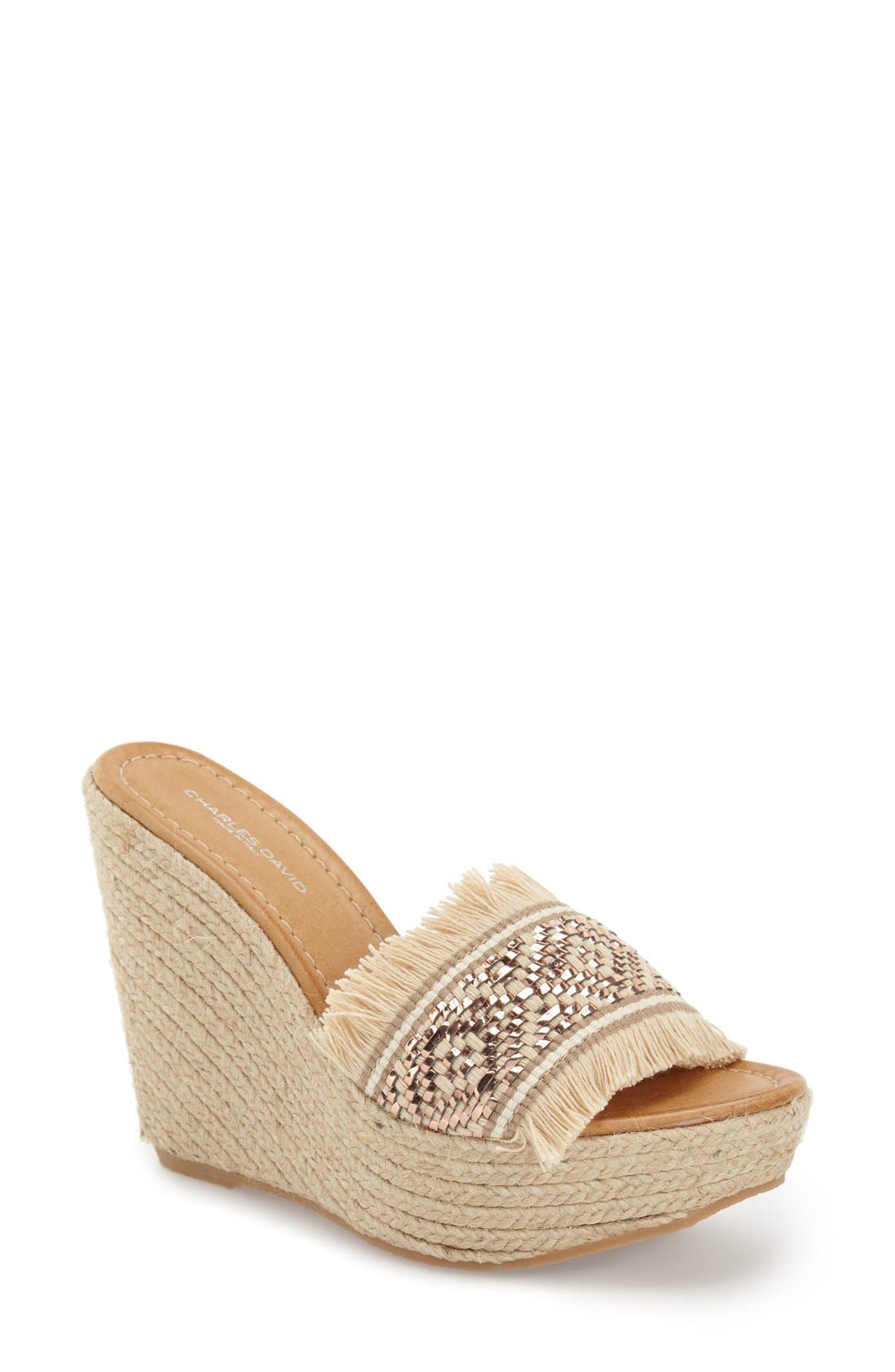 Alternate Image 1 Selected - Charles David 'Dana' Fringe Wedge Sandal (Women)