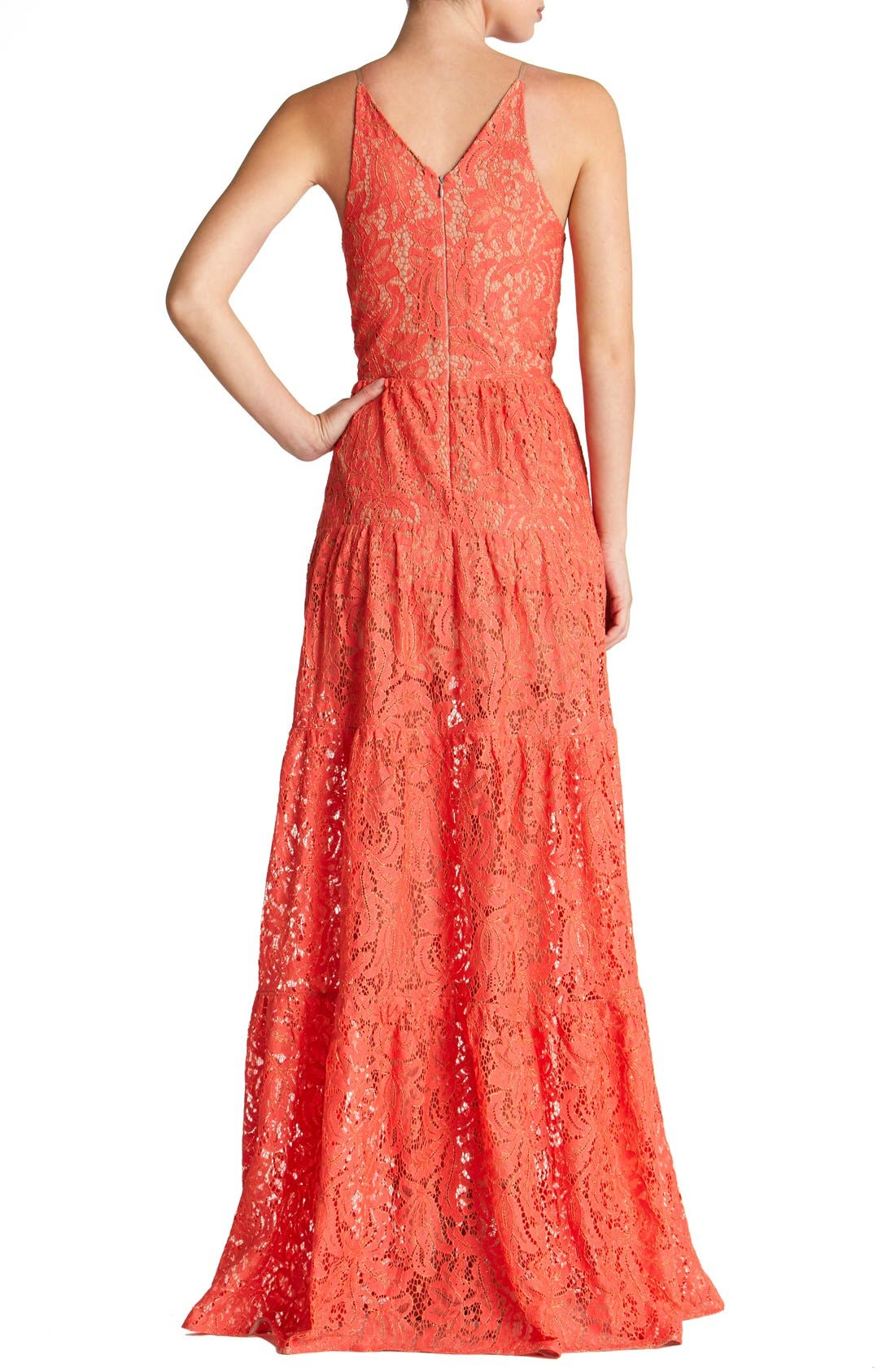 Alternate Image 2  - Dress the Population Melina Lace Fit & Flare Maxi Dress